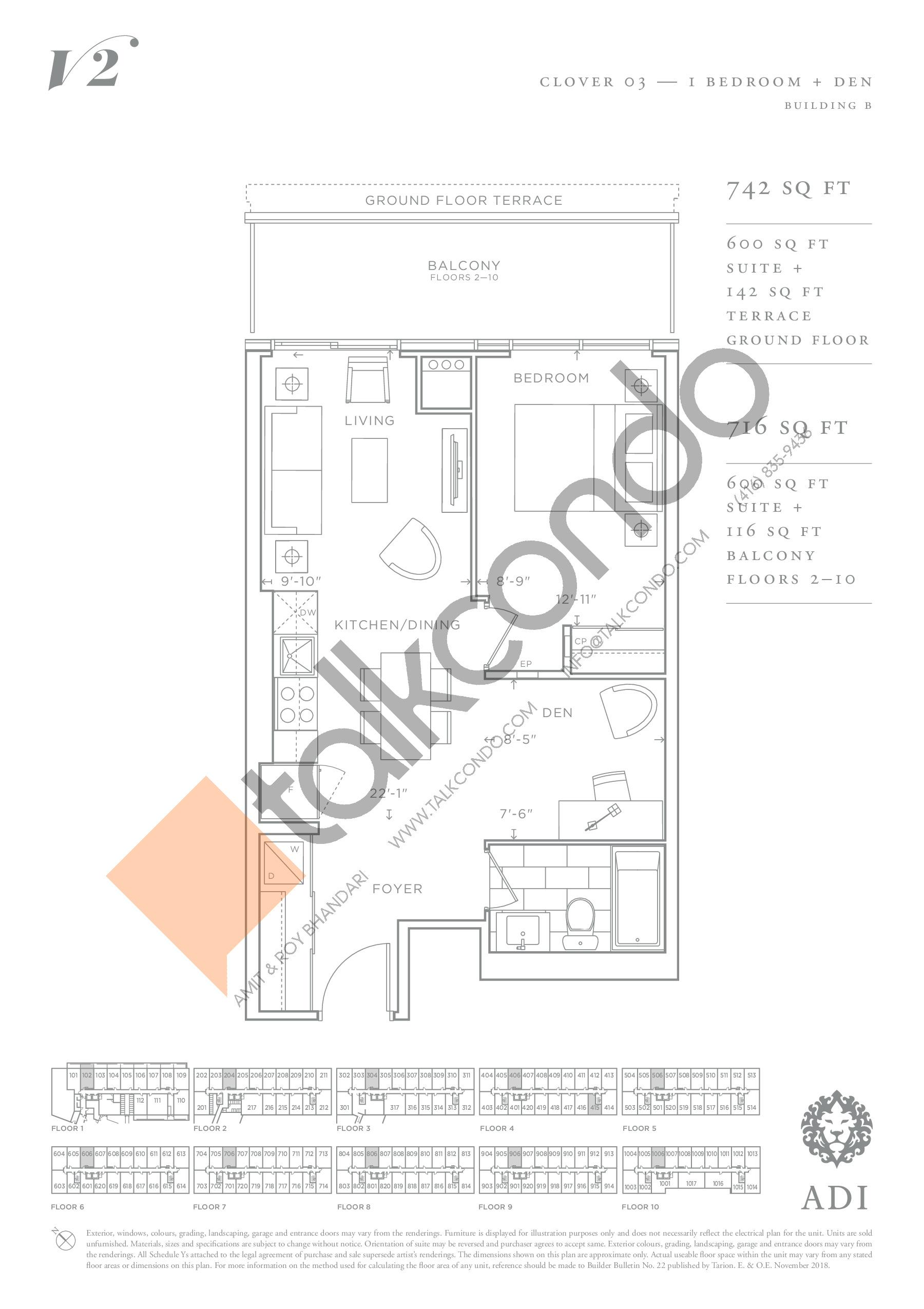 Clover 03 Floor Plan at Valera Condos 2 - 600 sq.ft