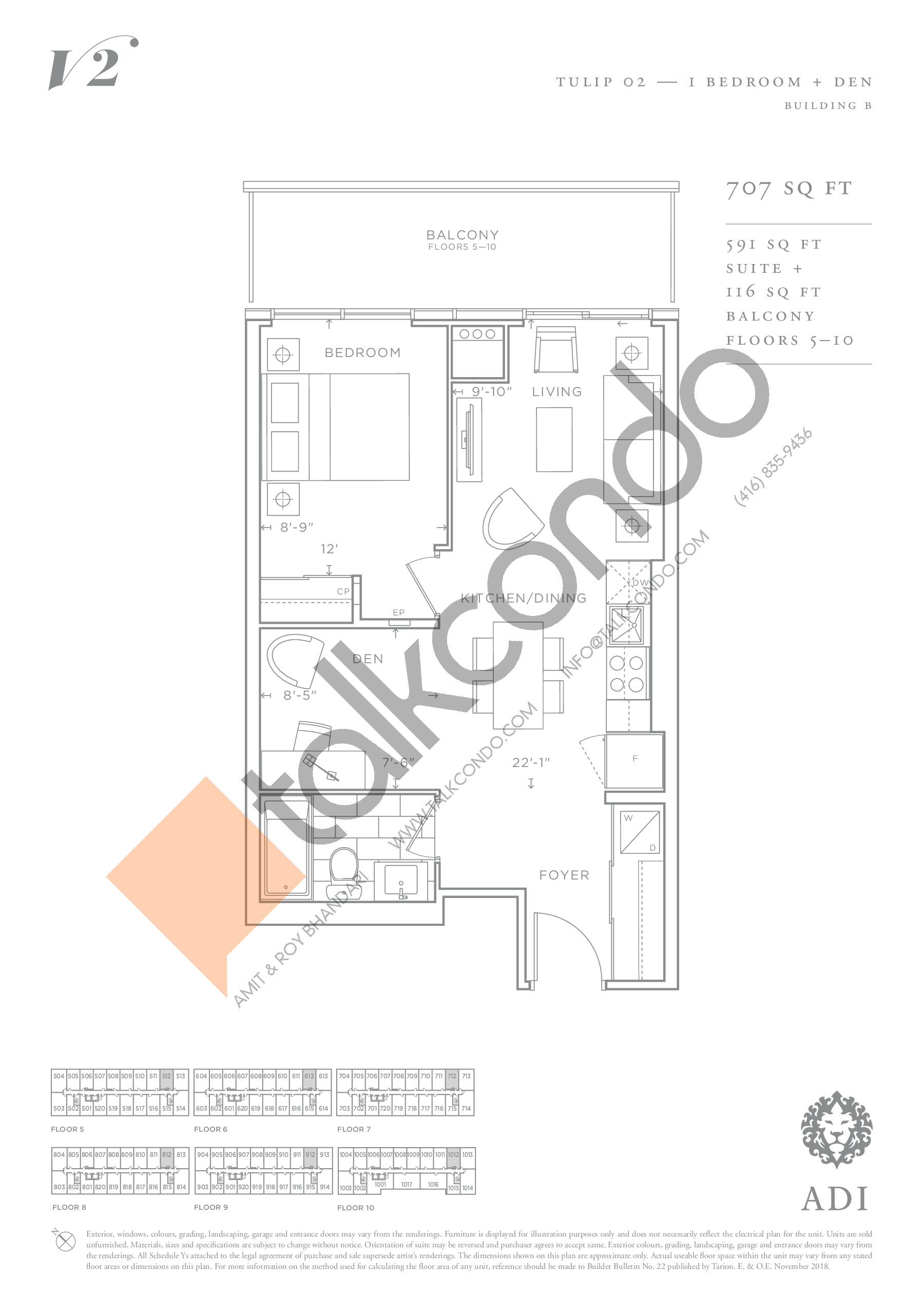 Tulip 02 Floor Plan at Valera Condos 2 - 591 sq.ft