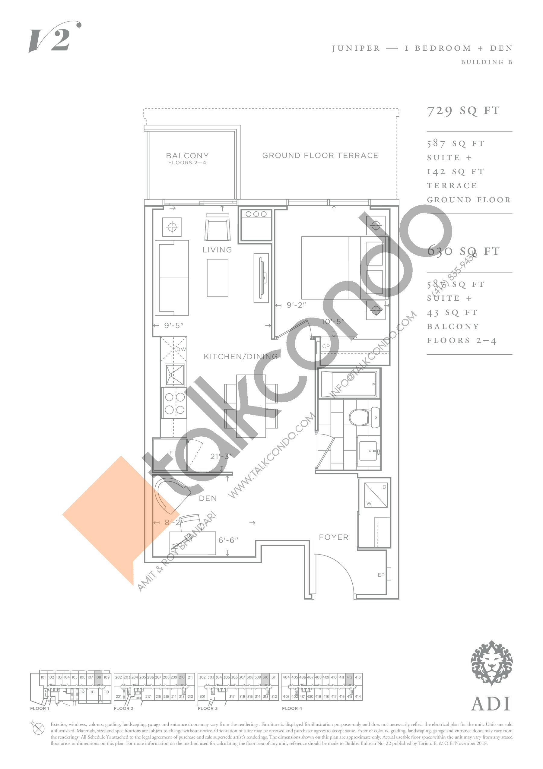 Juniper Floor Plan at Valera Condos 2 - 587 sq.ft