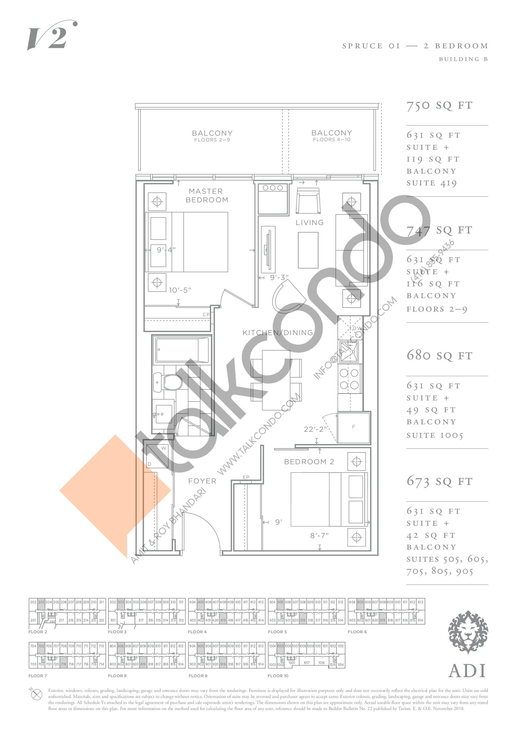 Spruce 01 Floor Plan at Valera Condos 2 - 631 sq.ft