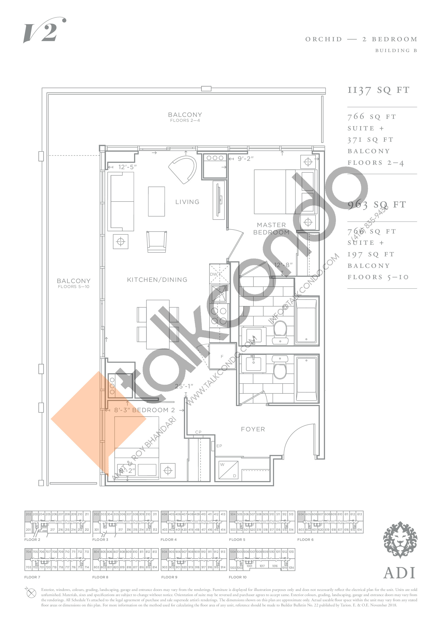 Orchid Floor Plan at Valera Condos 2 - 766 sq.ft