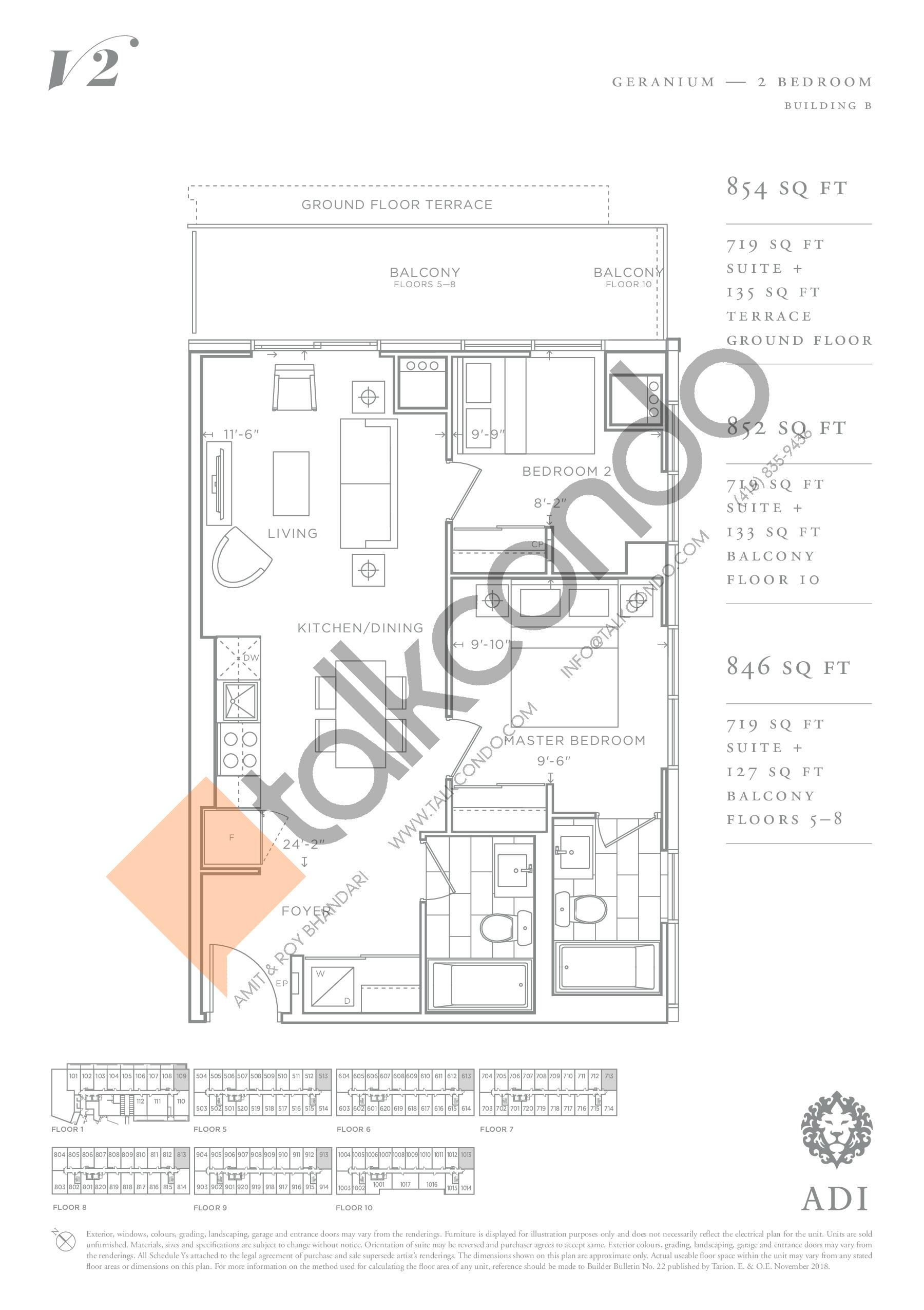 Geranium Floor Plan at Valera Condos 2 - 719 sq.ft
