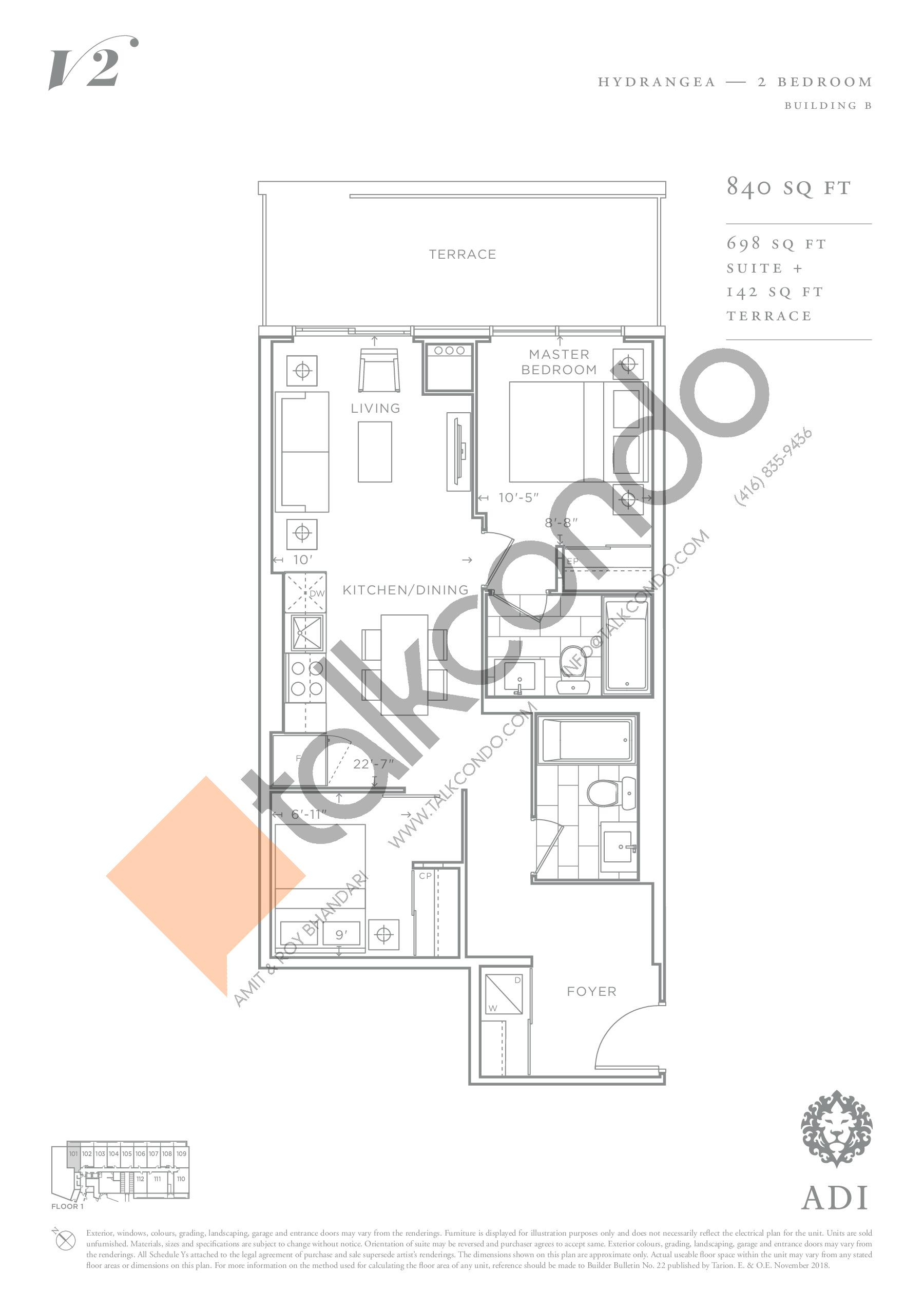 Hydrangea Floor Plan at Valera Condos 2 - 698 sq.ft