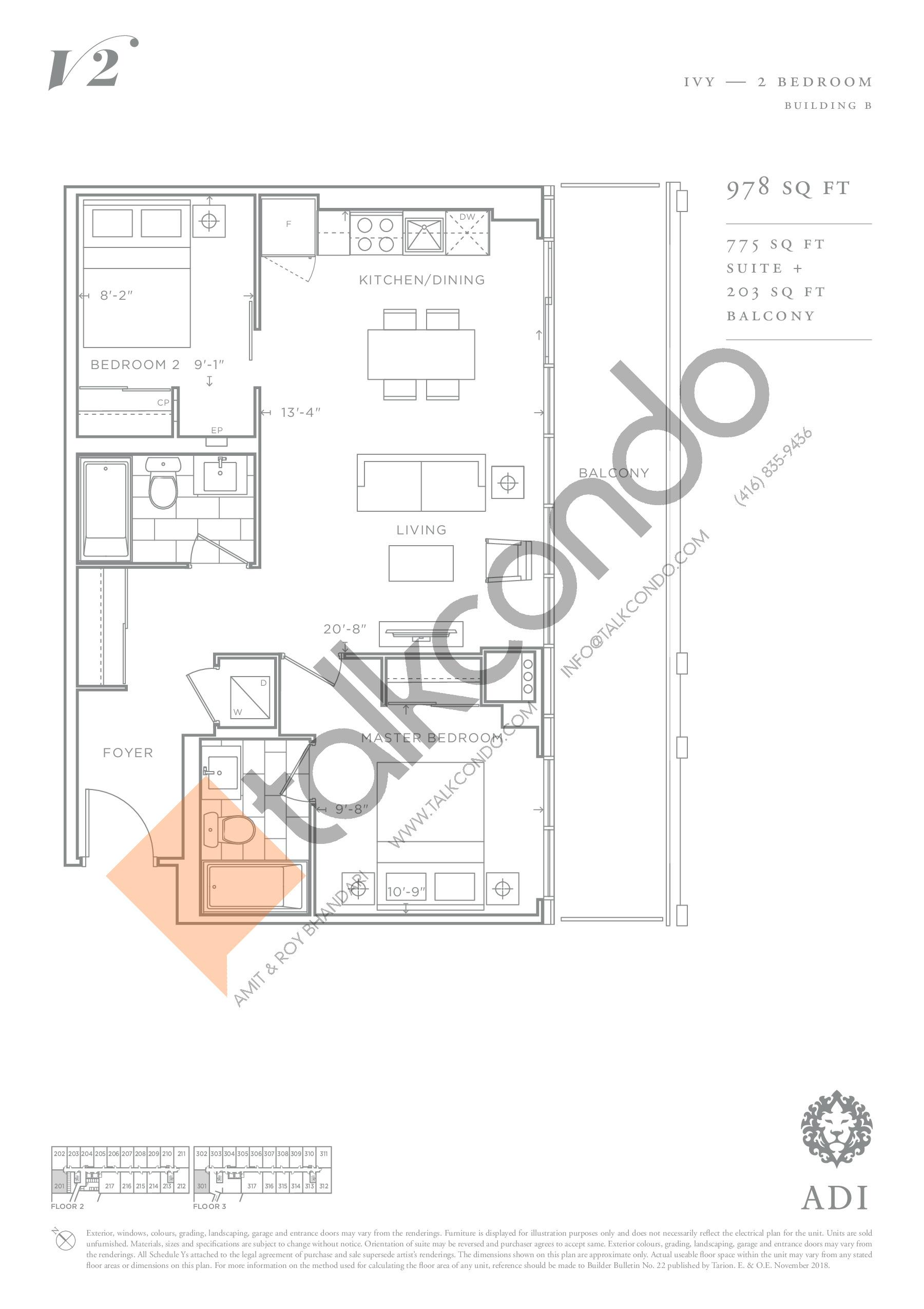Ivy Floor Plan at Valera Condos 2 - 775 sq.ft