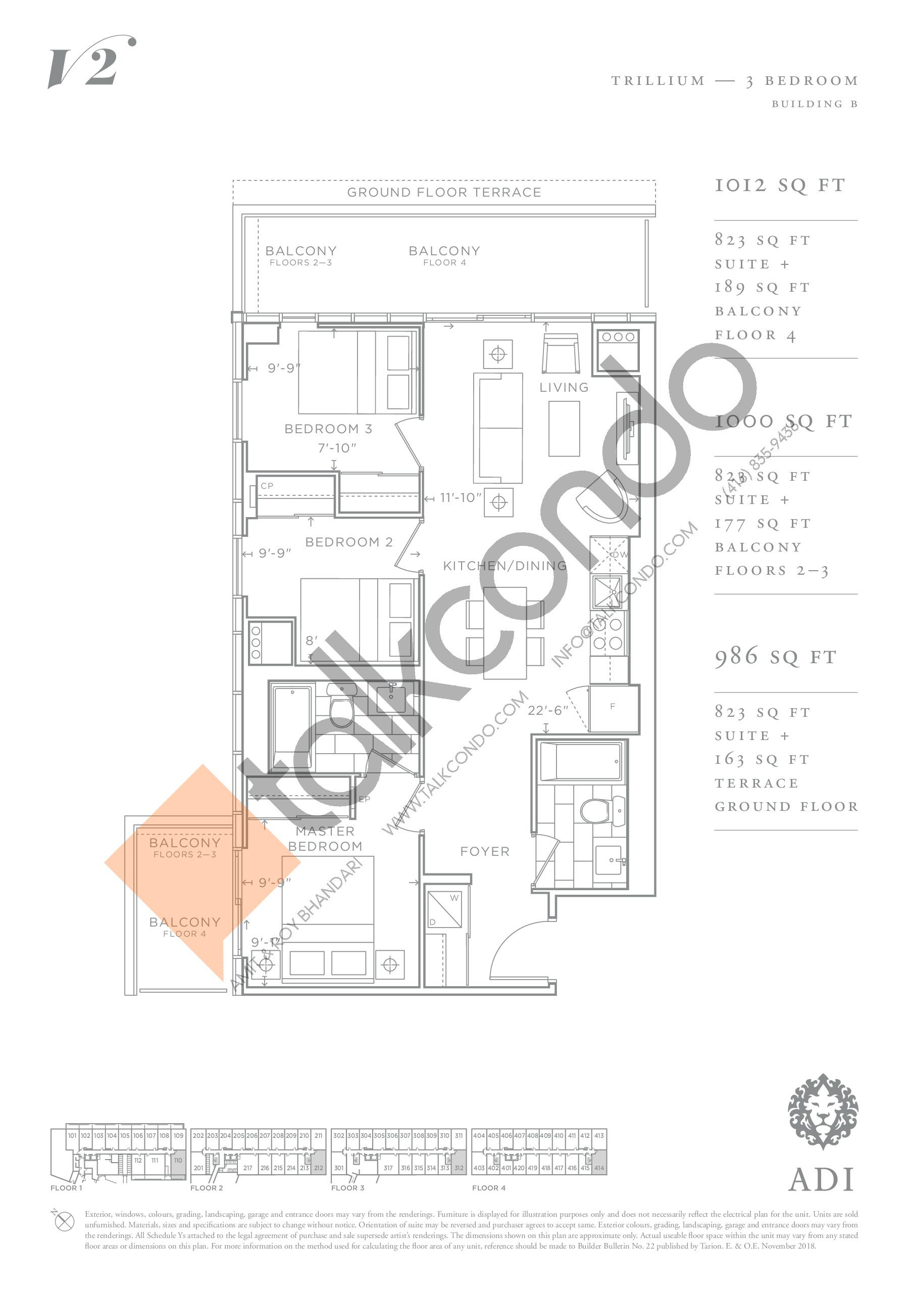 Trillium Floor Plan at Valera Condos 2 - 823 sq.ft