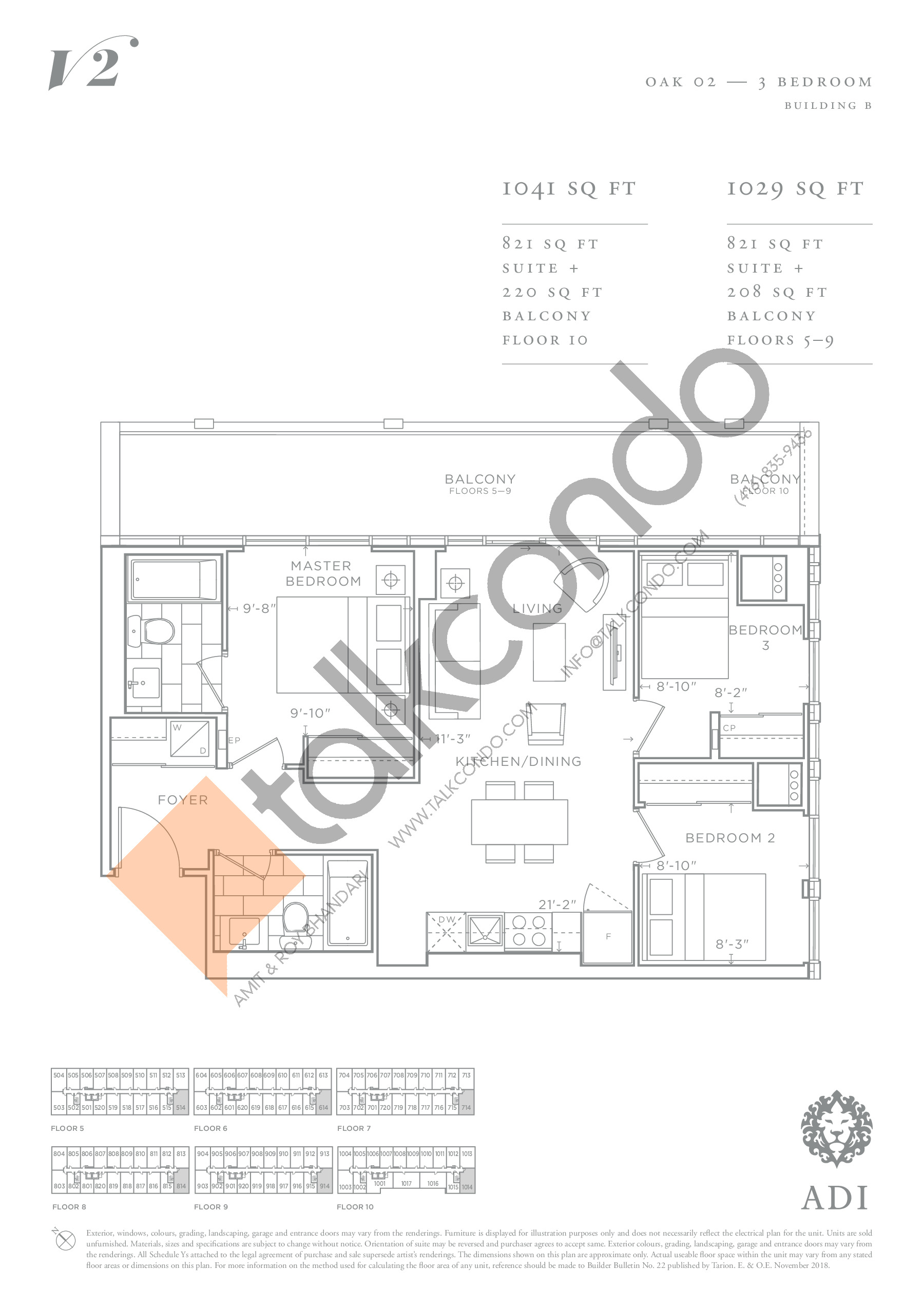 Oak 02 Floor Plan at Valera Condos 2 - 821 sq.ft