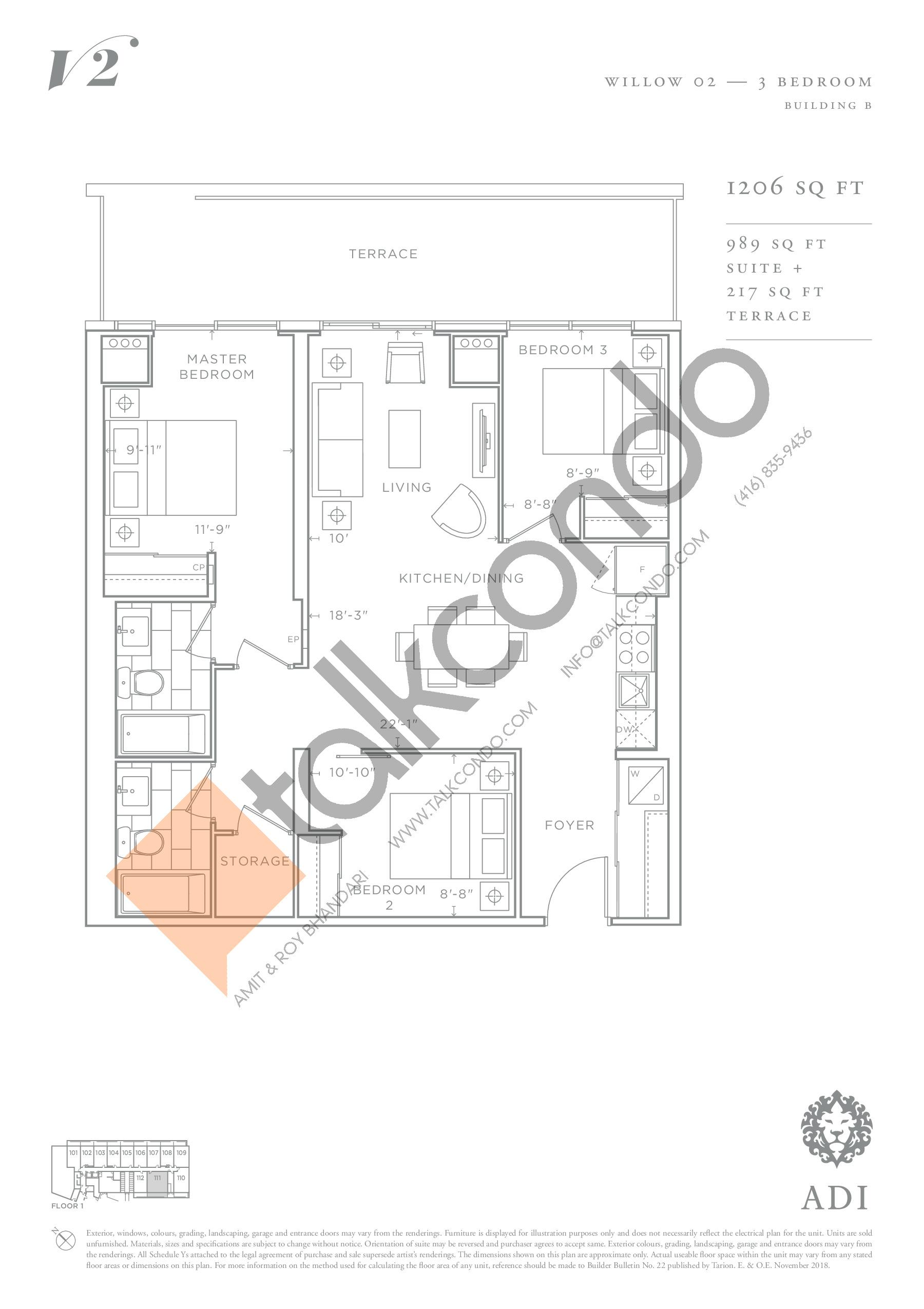 Willow 02 Floor Plan at Valera Condos 2 - 989 sq.ft