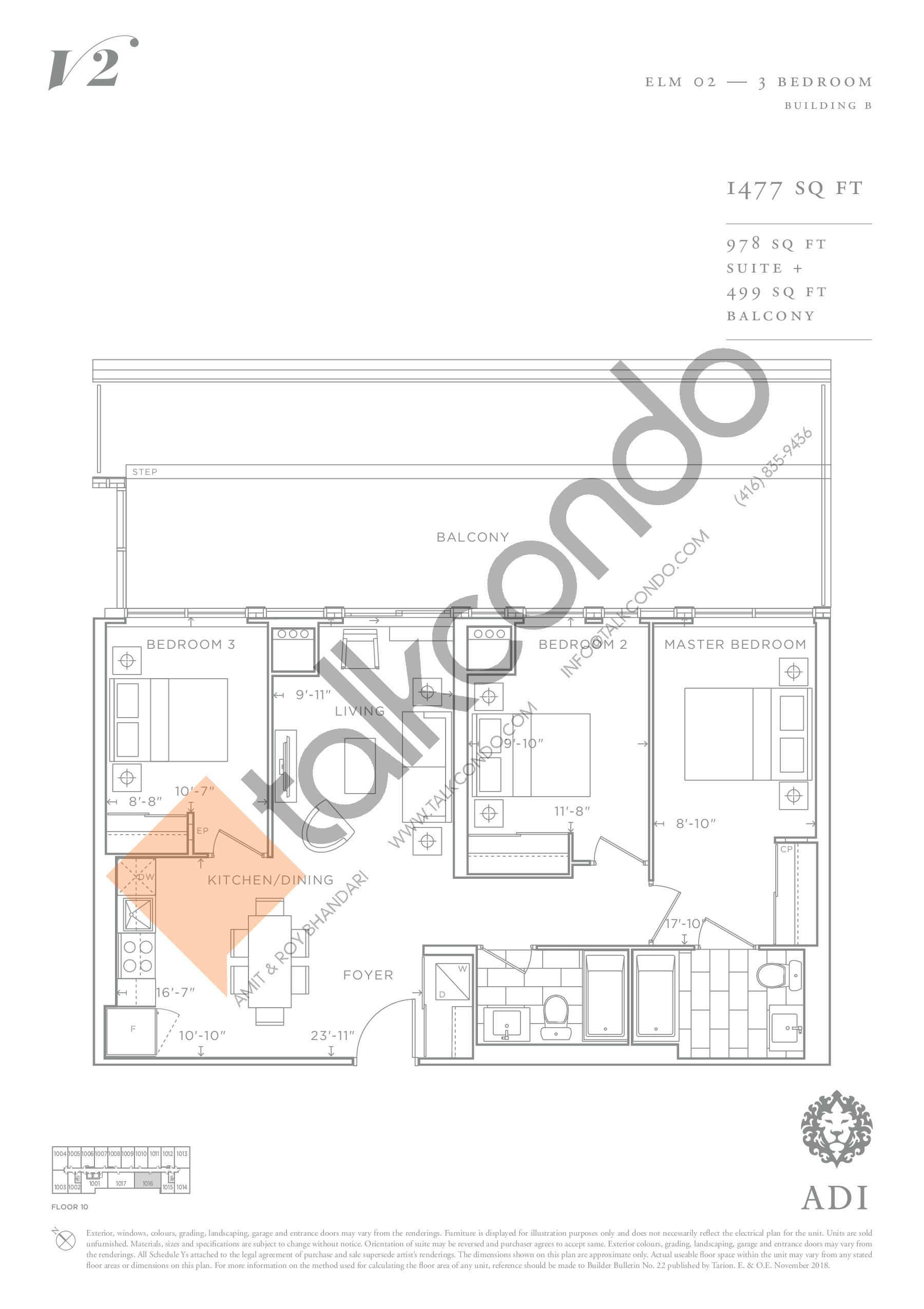 Elm 02 Floor Plan at Valera Condos 2 - 978 sq.ft