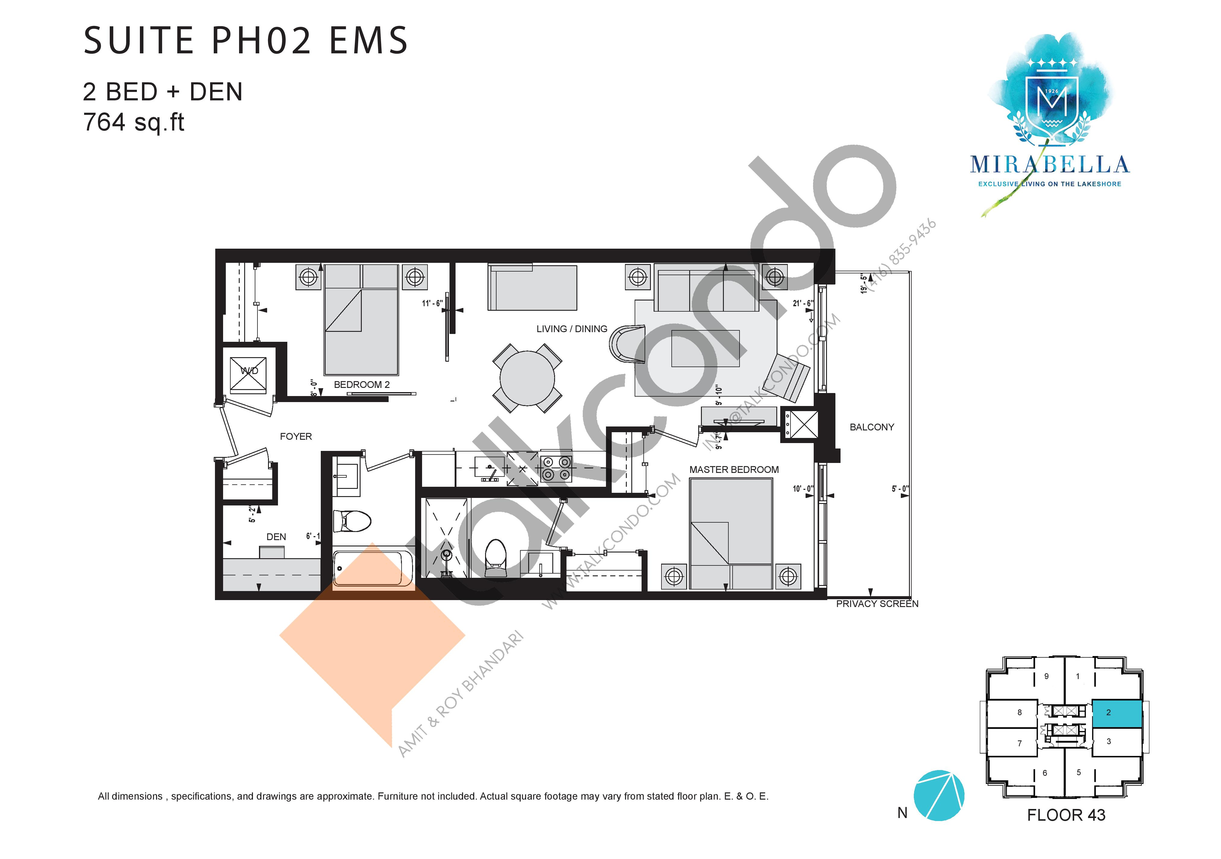 Suite PH02 EMS Floor Plan at Mirabella Luxury Condos East Tower - 764 sq.ft