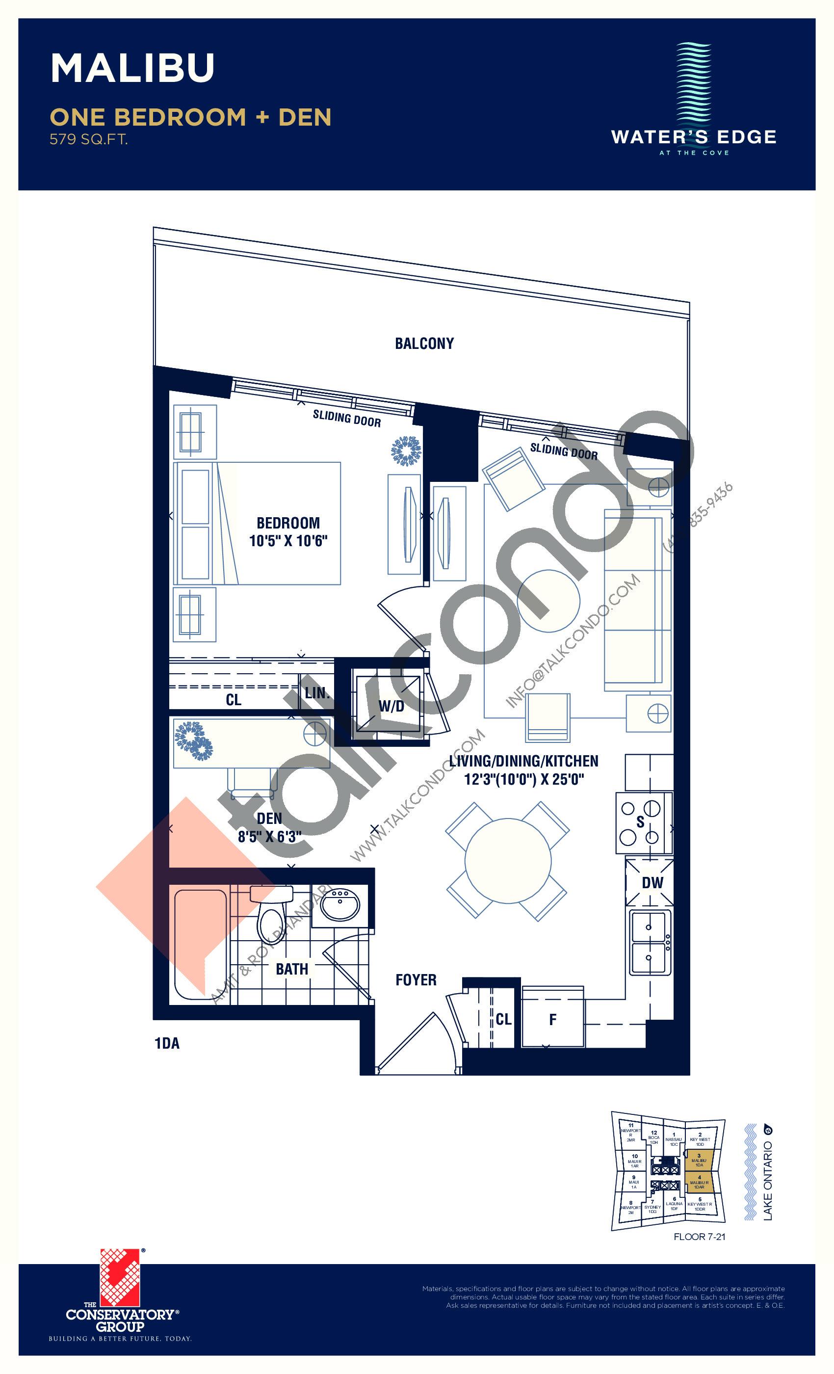 Malibu Floor Plan at Water's Edge at the Cove Condos - 579 sq.ft