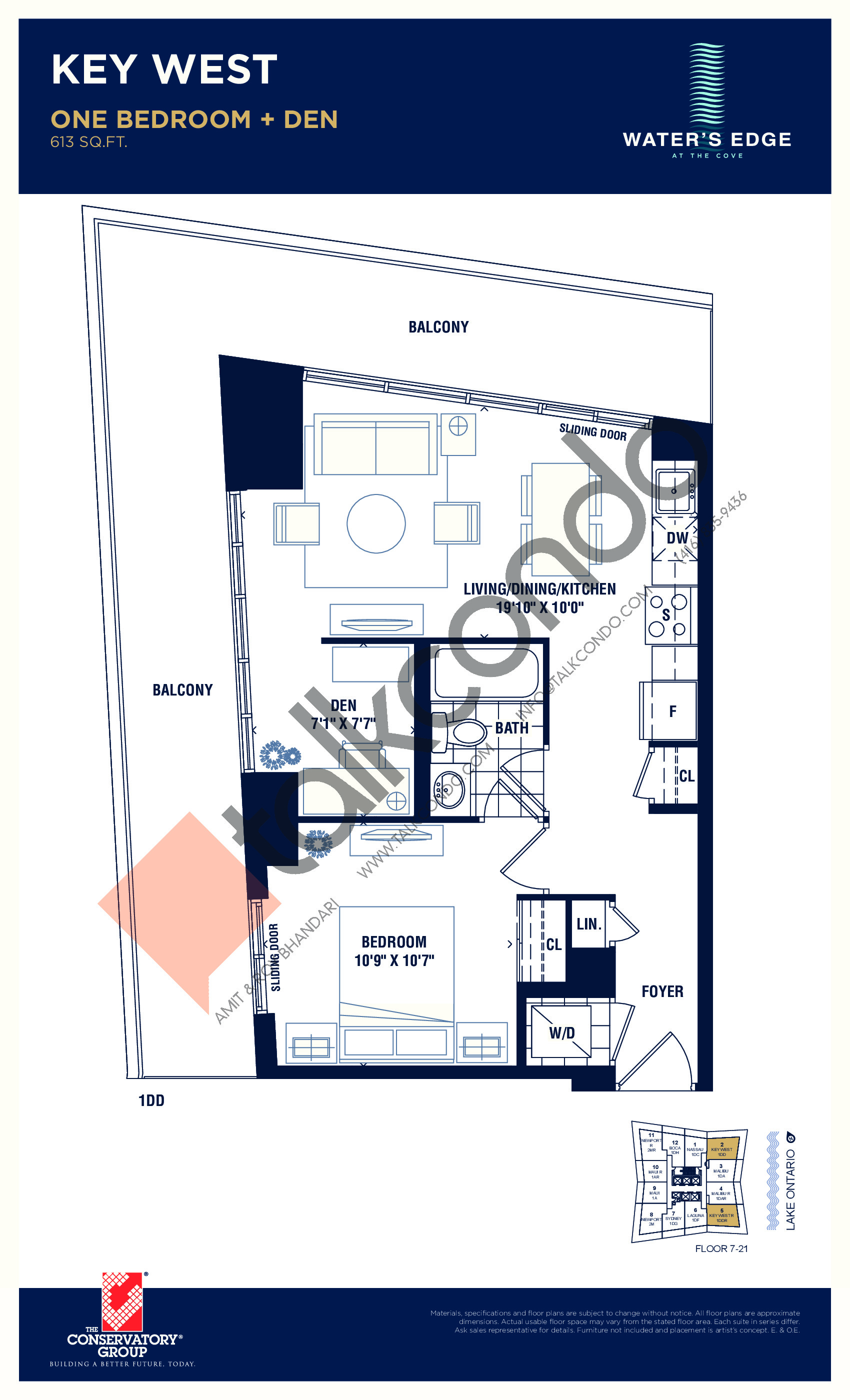 Key West Floor Plan at Water's Edge at the Cove Condos - 613 sq.ft