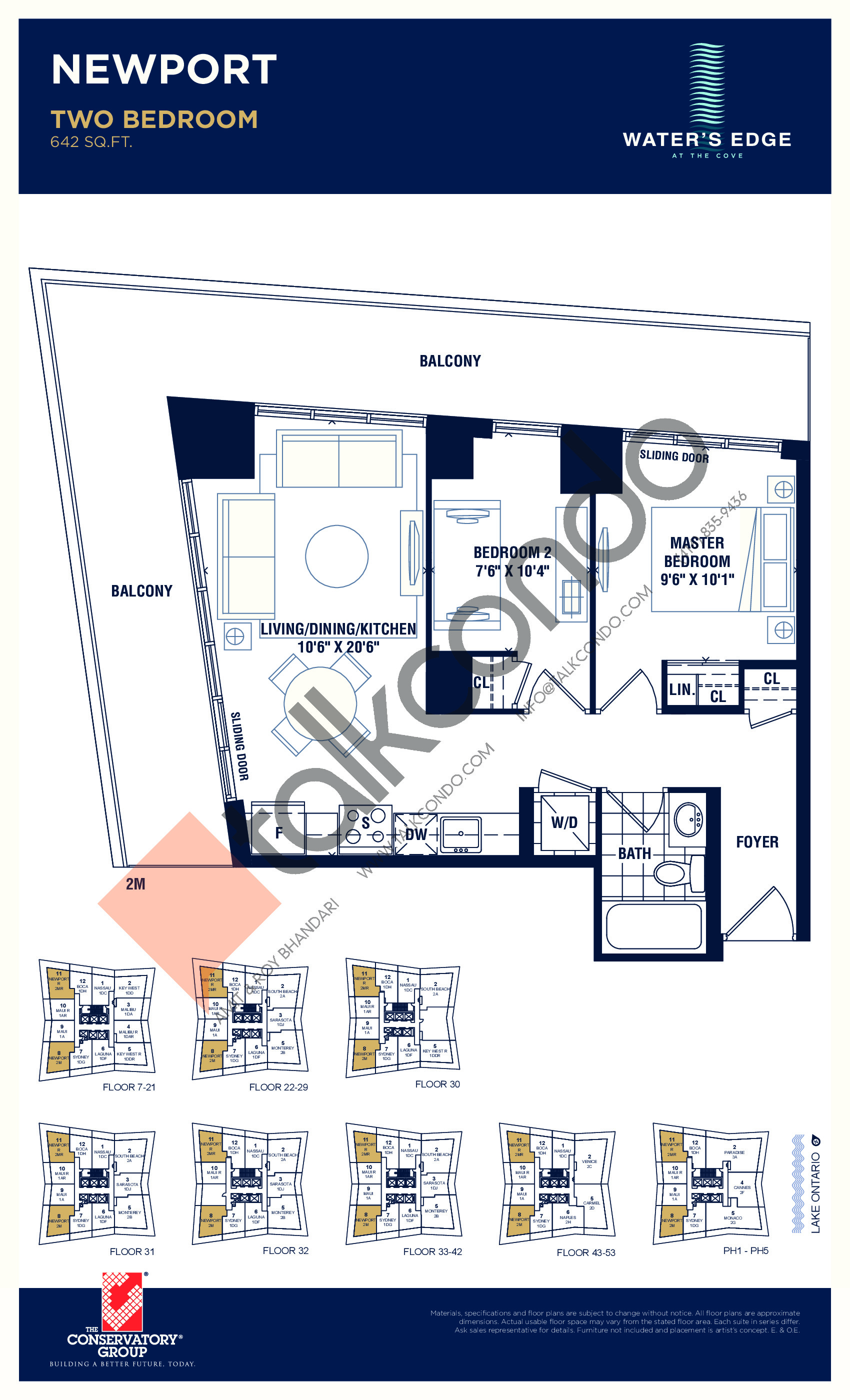 Newport Floor Plan at Water's Edge at the Cove Condos - 642 sq.ft