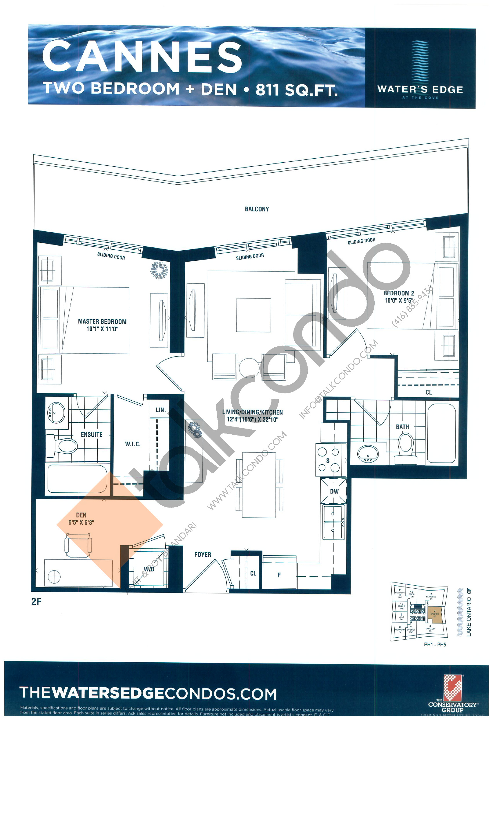 Cannes Floor Plan at Water's Edge at the Cove Condos - 811 sq.ft