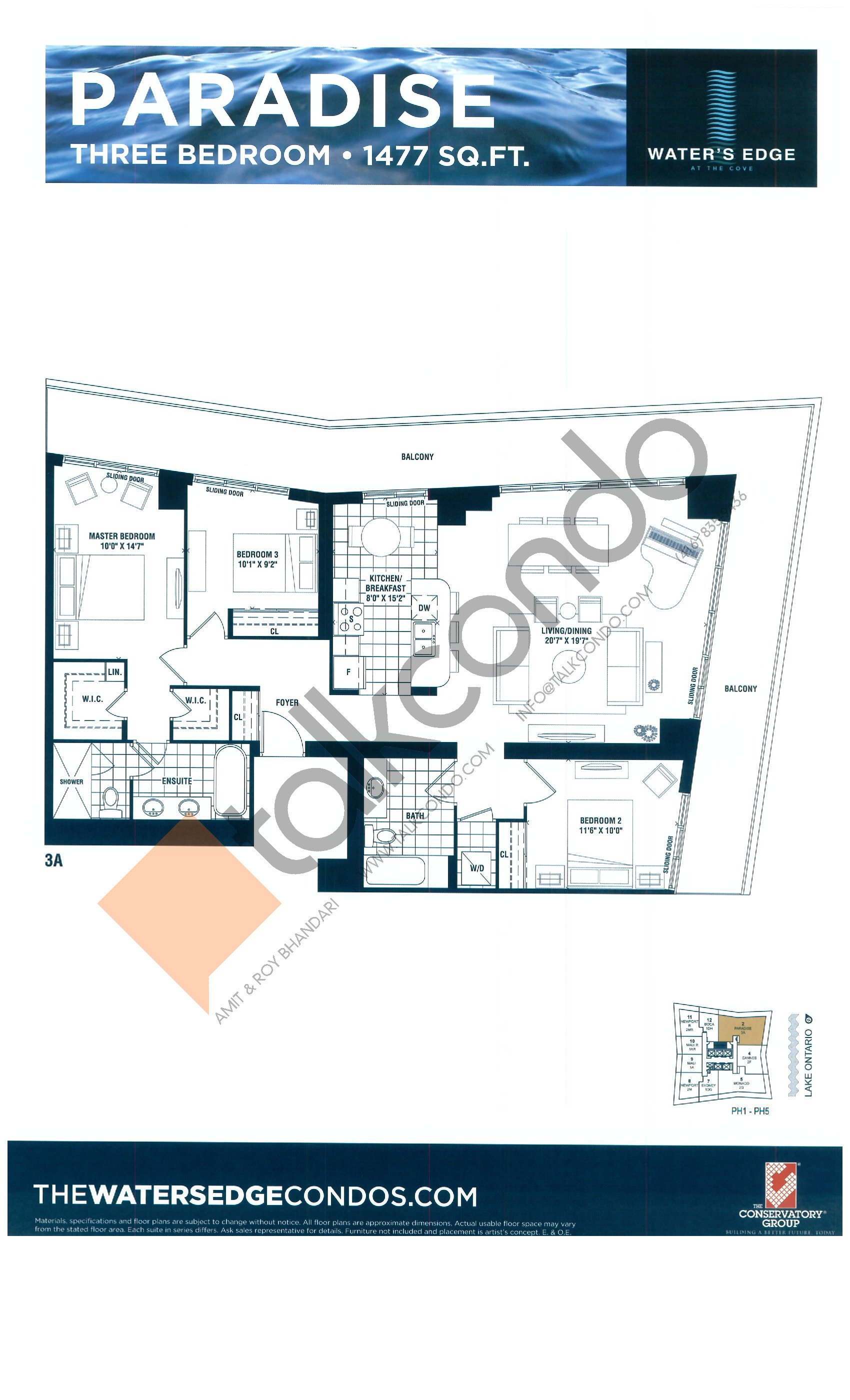 Paradise Floor Plan at Water's Edge at the Cove Condos - 1477 sq.ft