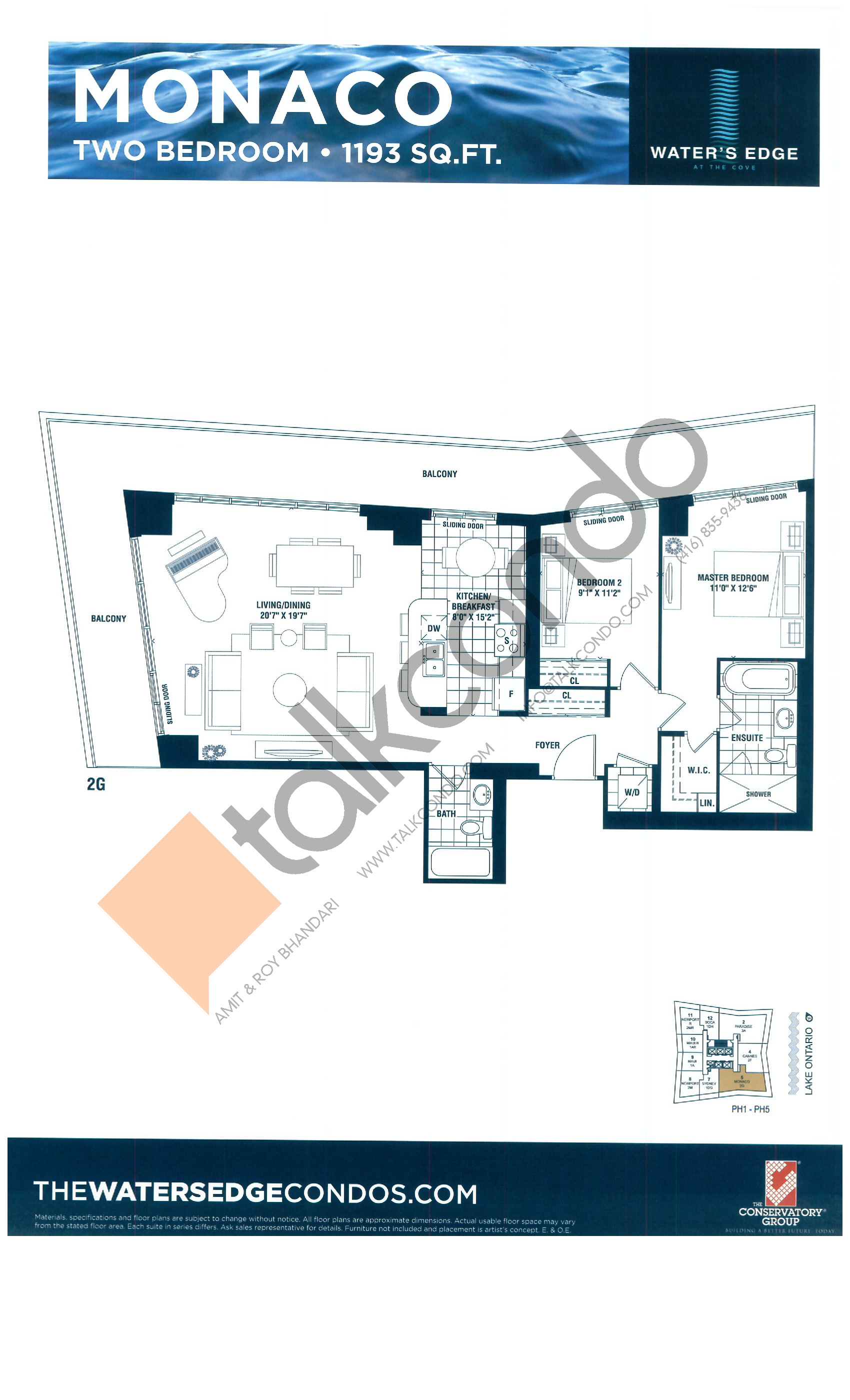 Monaco Floor Plan at Water's Edge at the Cove Condos - 1193 sq.ft