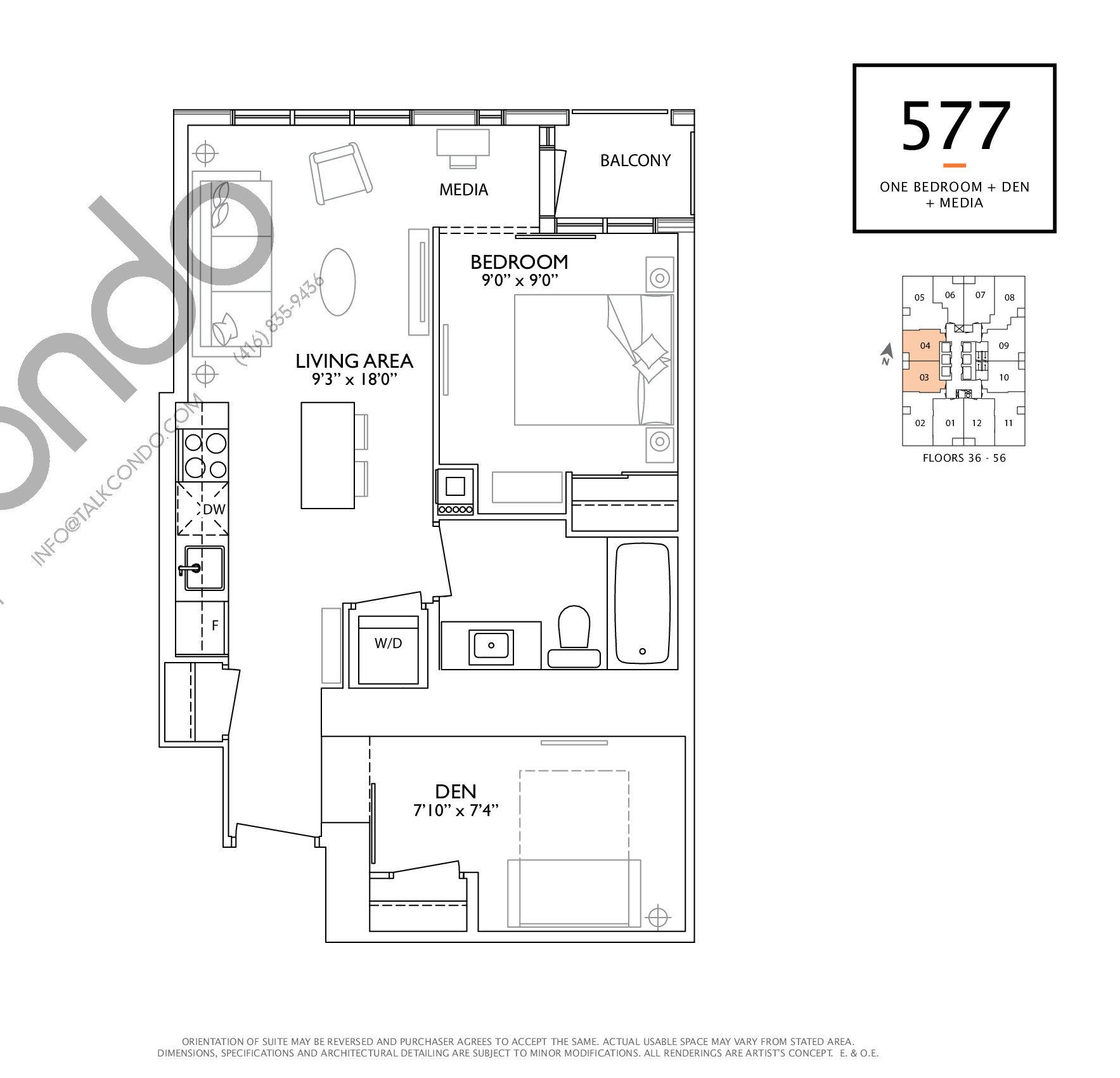 577 Floor Plan at 1 Yorkville Condos - 577 sq.ft