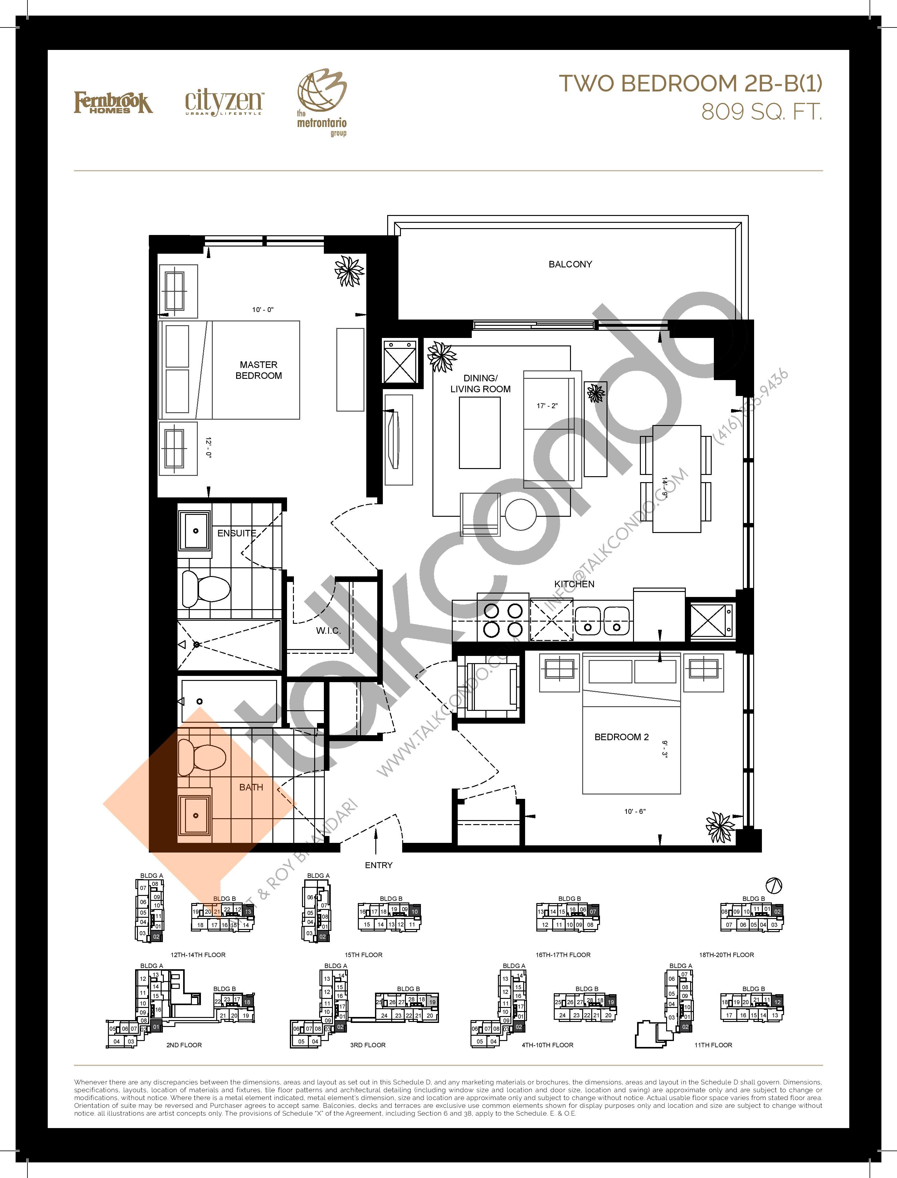 2B-B(1) Floor Plan at D'or Condos - 809 sq.ft