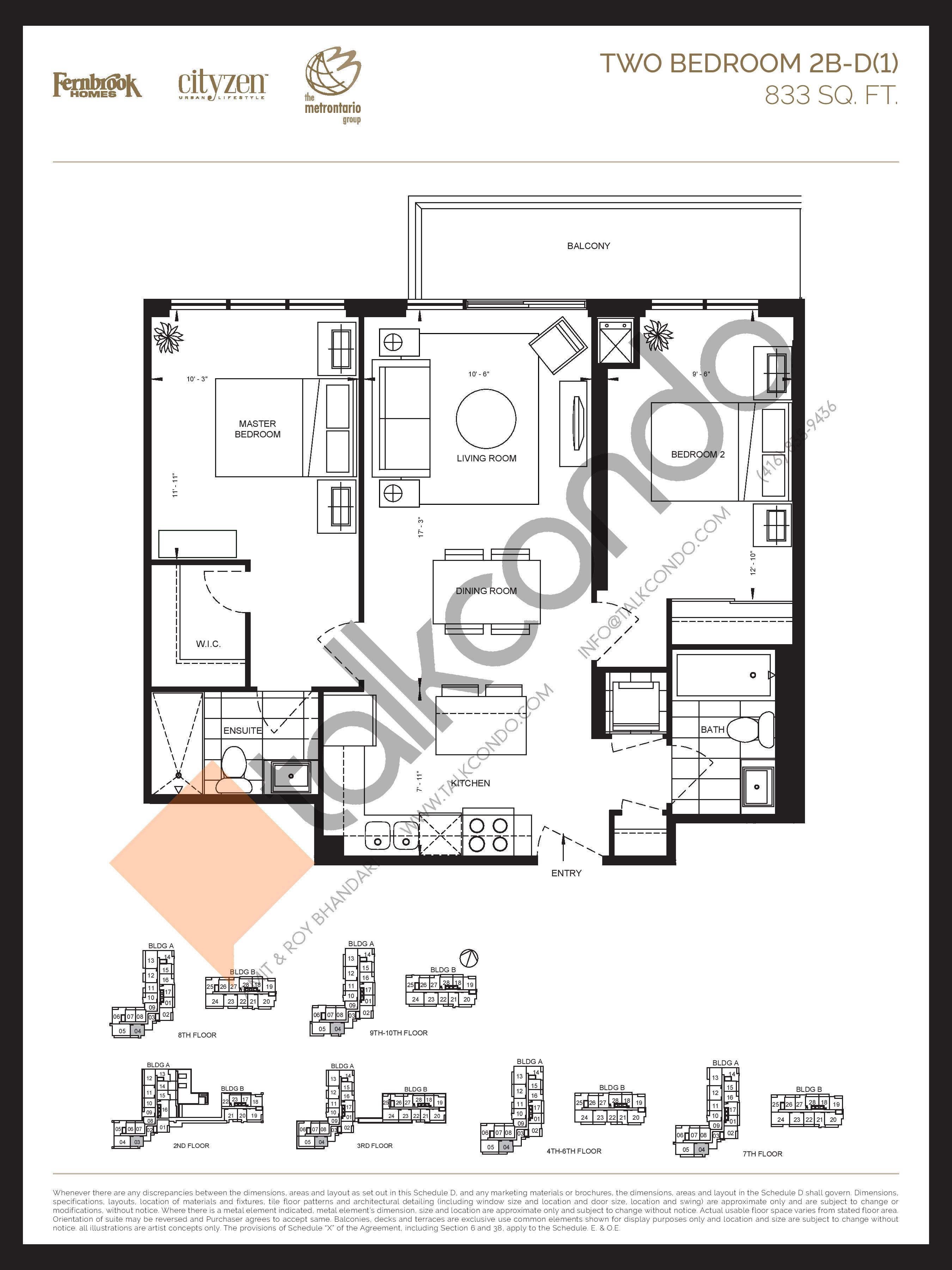 2B-D(1) Floor Plan at D'or Condos - 833 sq.ft