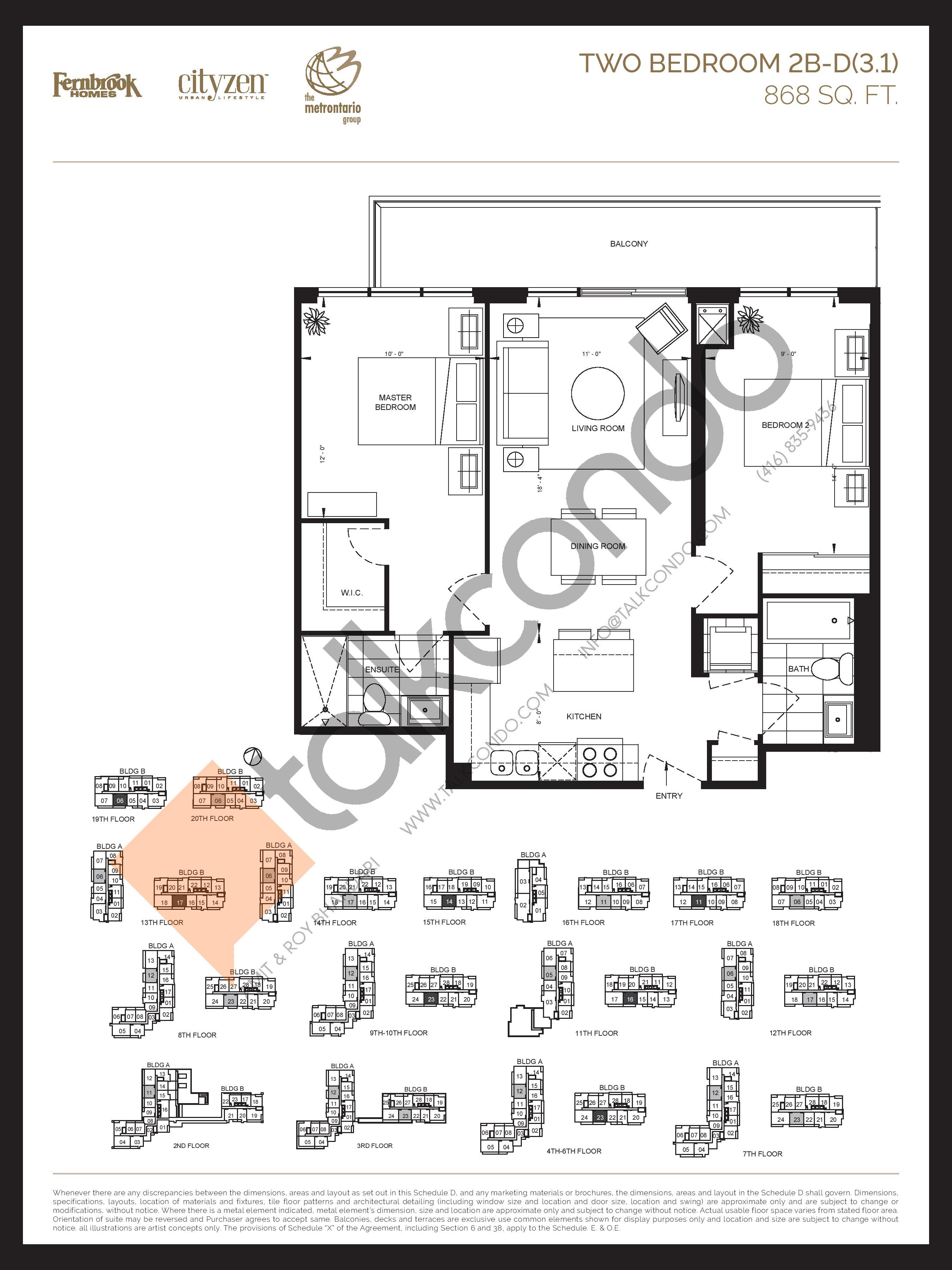 2B-D(3.1) Floor Plan at D'or Condos - 868 sq.ft