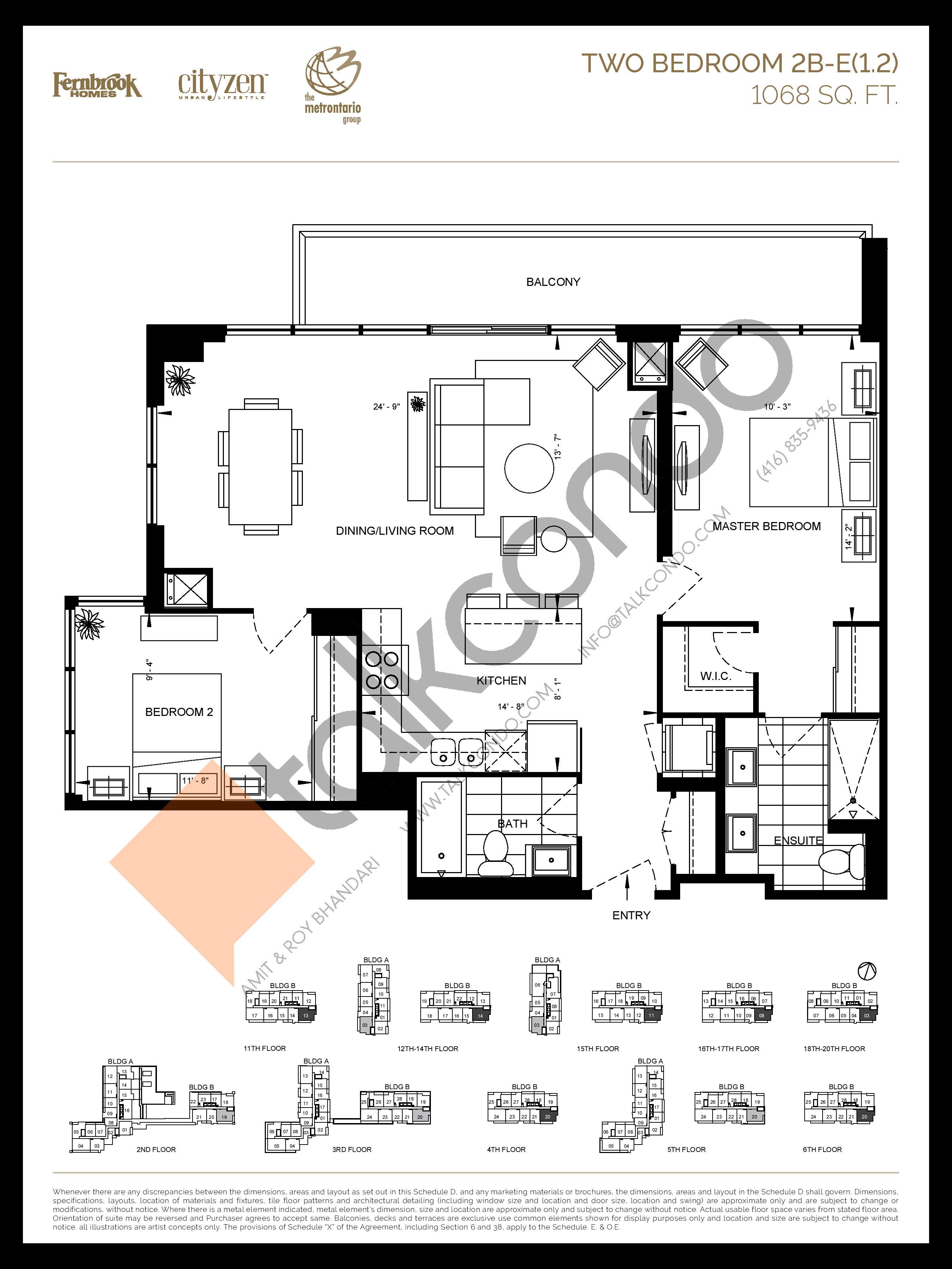 2B-E(1.2) Floor Plan at D'or Condos - 1068 sq.ft