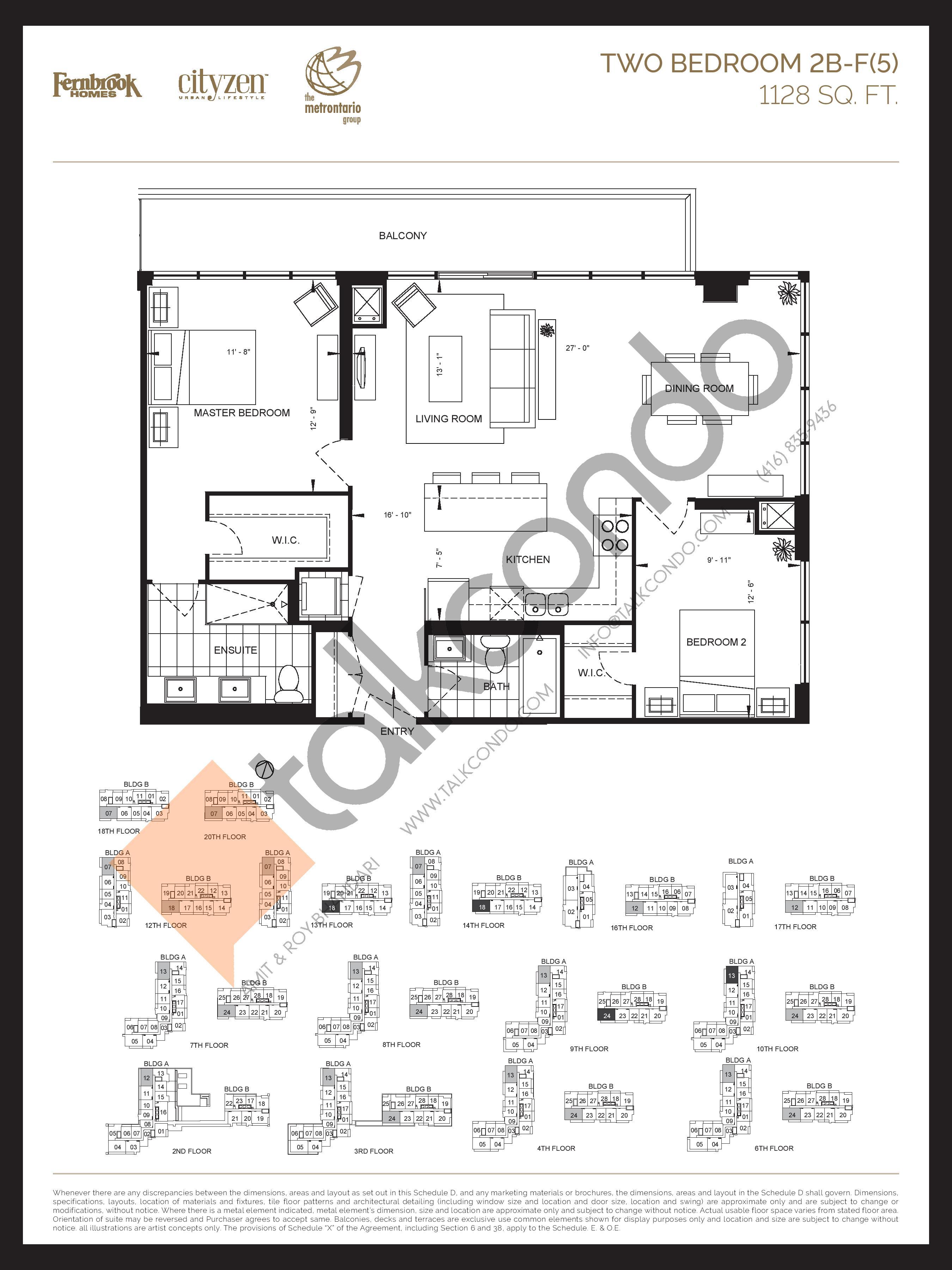 2B-F(5) Floor Plan at D'or Condos - 1128 sq.ft