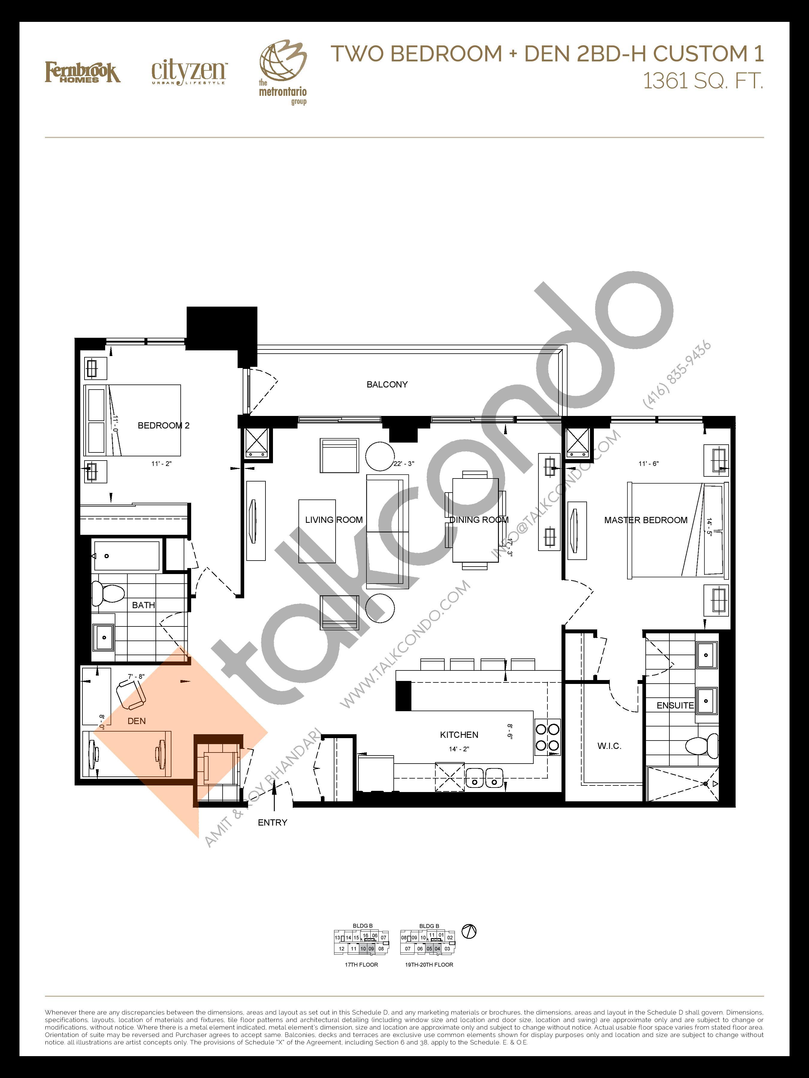 2BD-H-1 (2BD-H CUSTOM 1) Floor Plan at D'or Condos - 1361 sq.ft