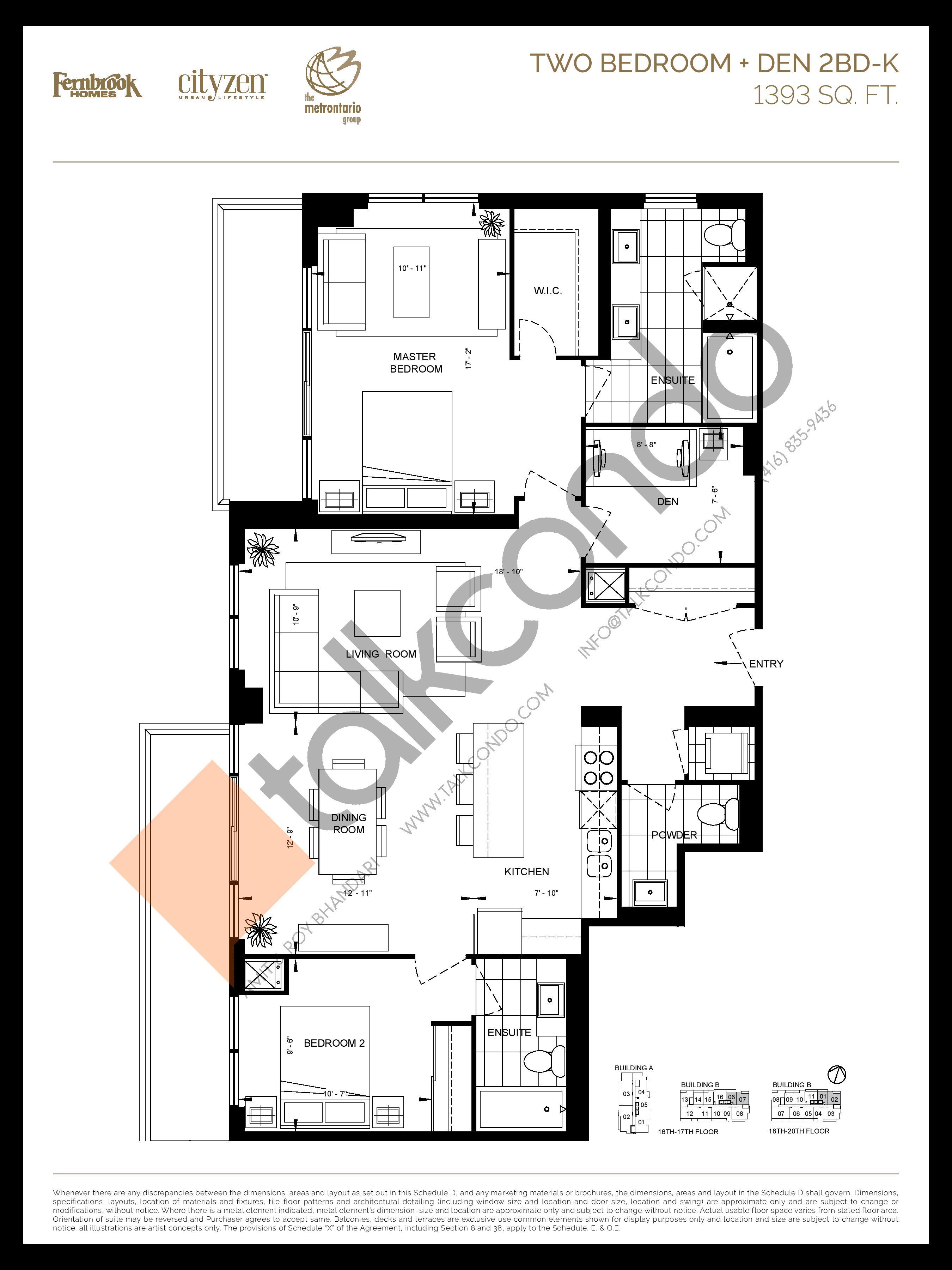 2BD-K Floor Plan at D'or Condos - 1393 sq.ft