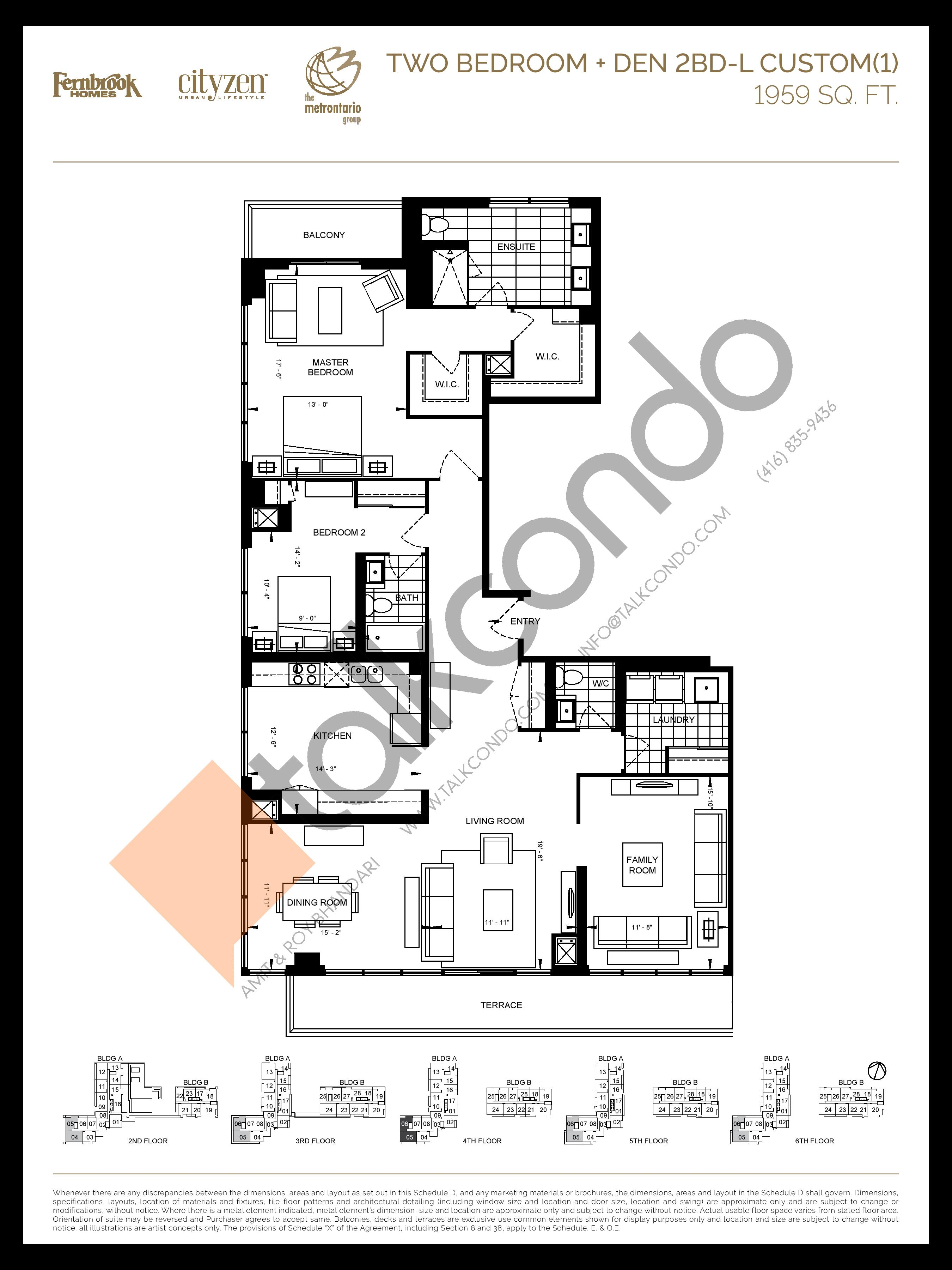 2BD-L CUSTOM(1) Floor Plan at D'or Condos - 1959 sq.ft