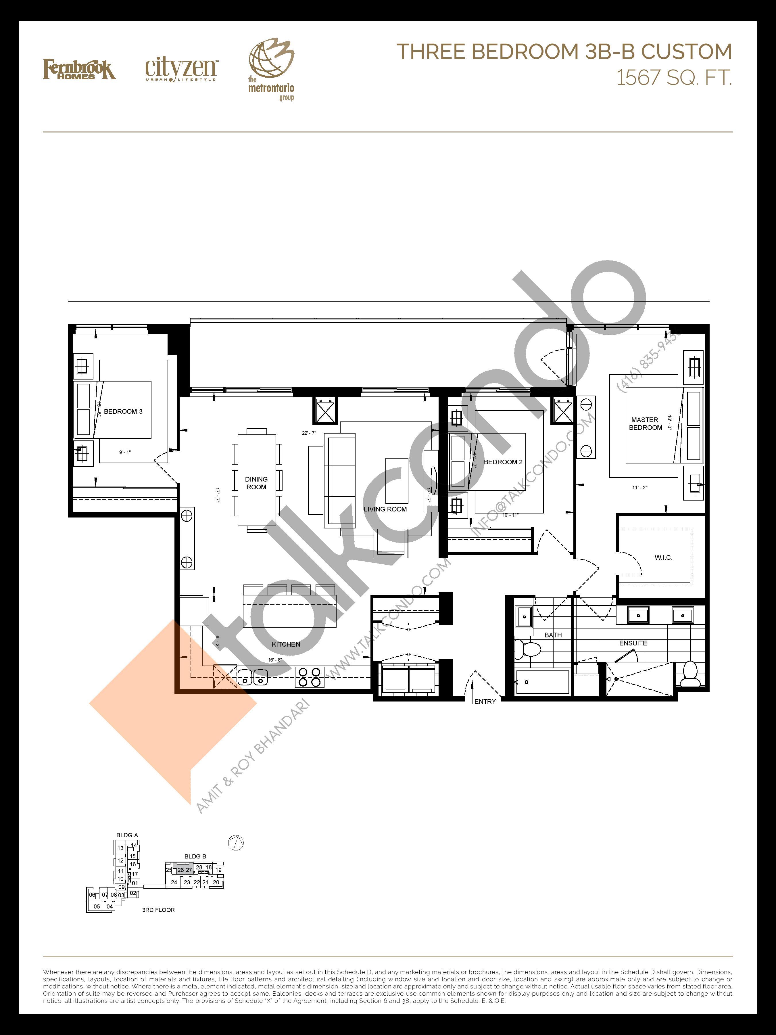3B-B CUSTOM Floor Plan at D'or Condos - 1567 sq.ft
