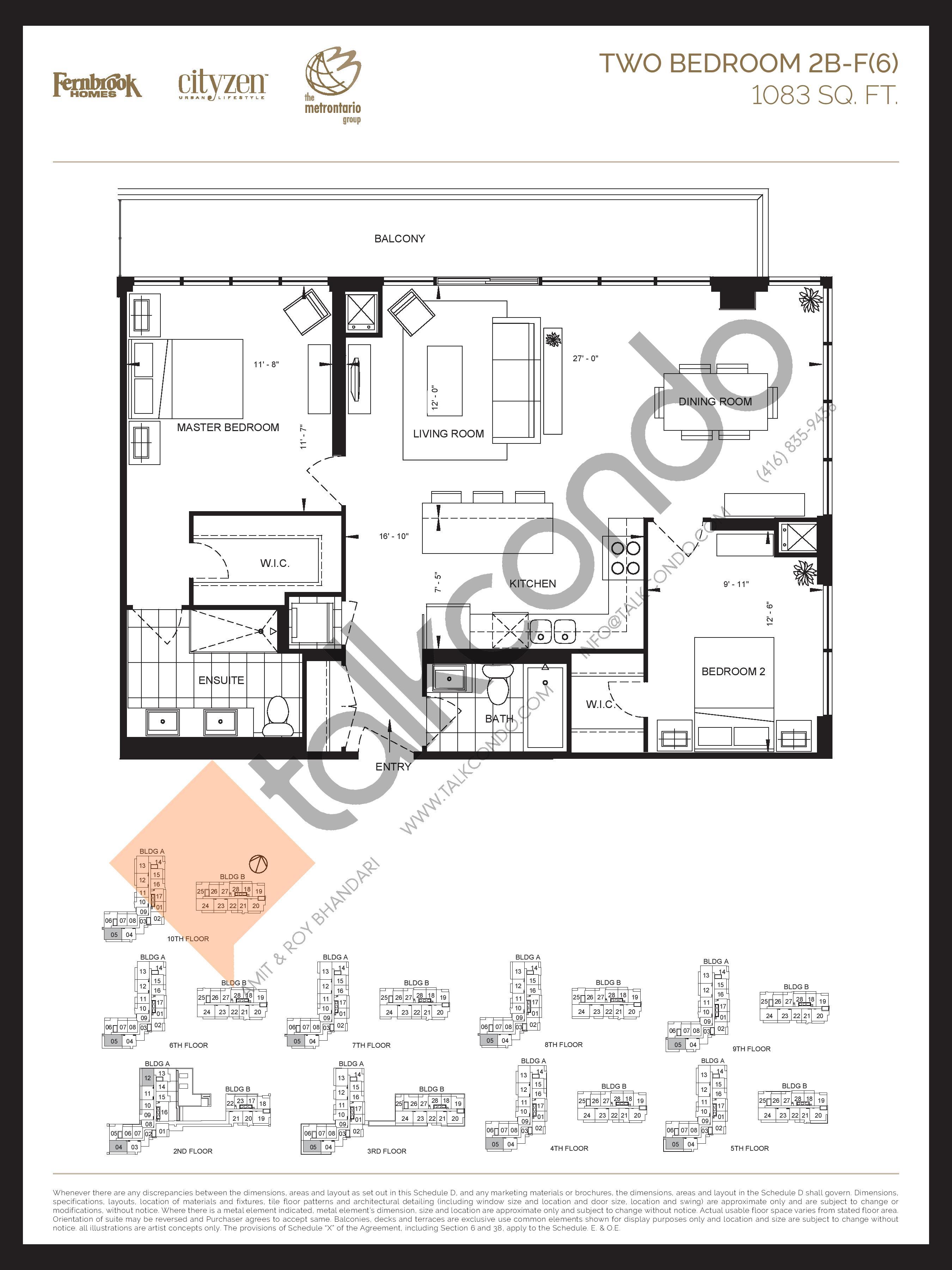 2B-F(6) Floor Plan at D'or Condos - 1083 sq.ft