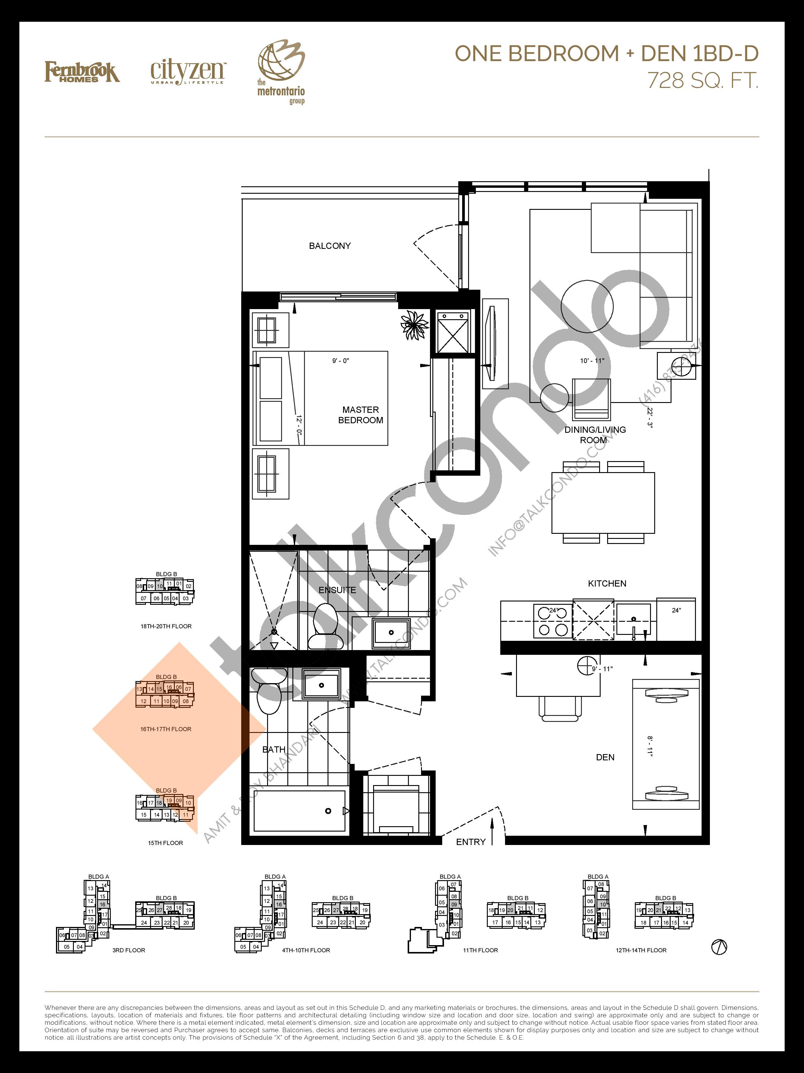 1BD-D Floor Plan at D'or Condos - 728 sq.ft