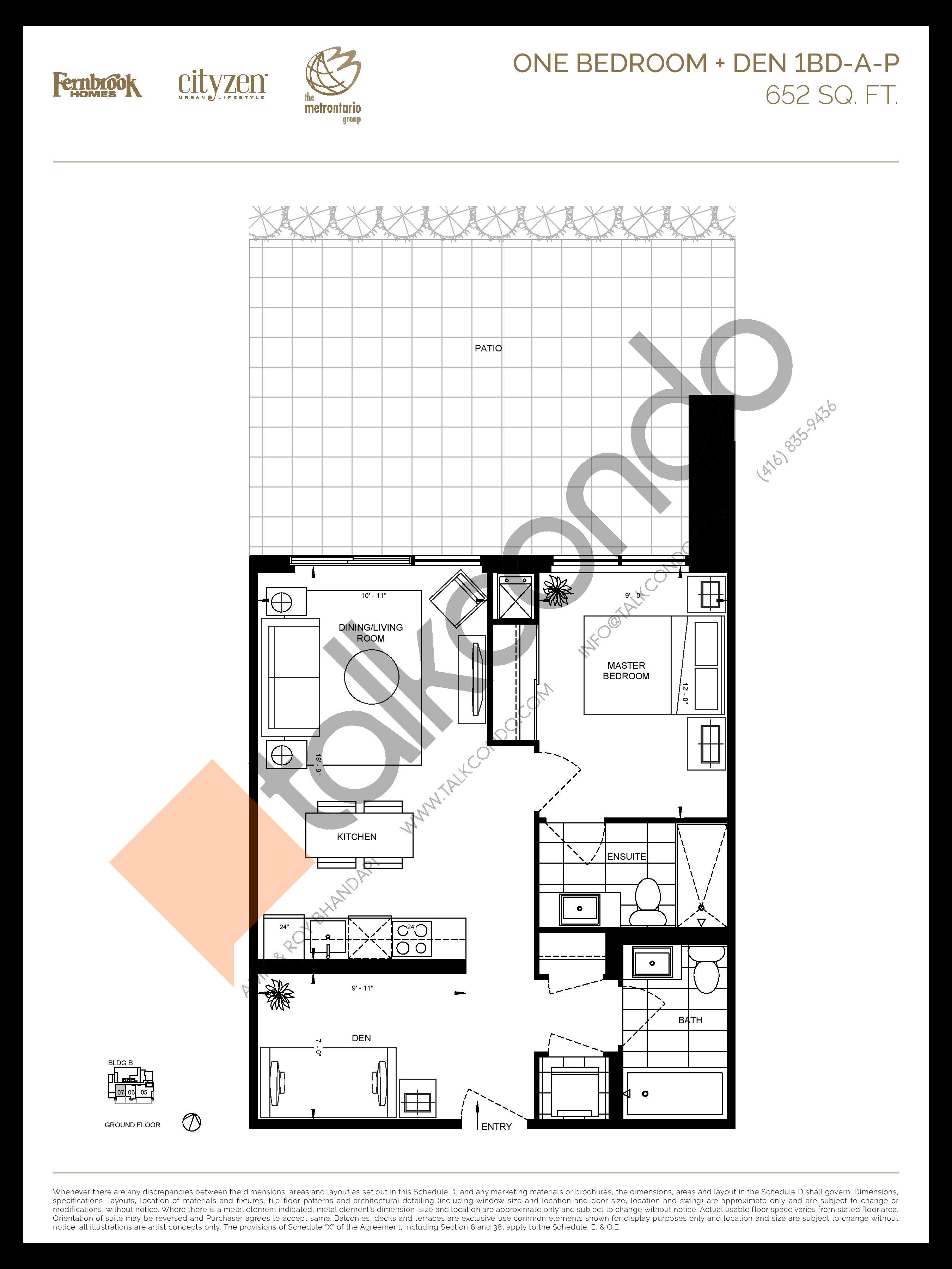 1BD-A-P Floor Plan at D'or Condos - 652 sq.ft