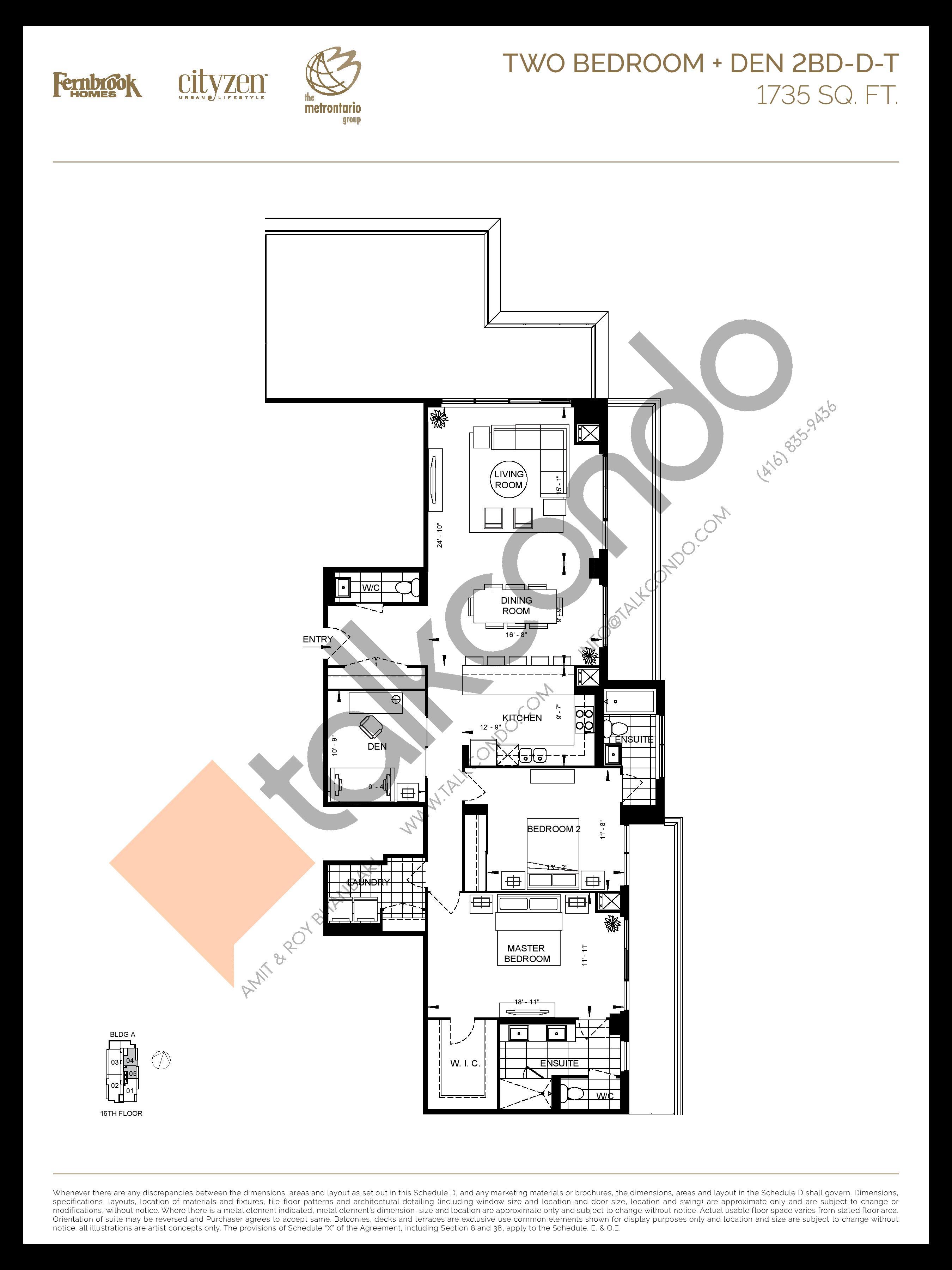 2BD-D-T Floor Plan at D'or Condos - 1735 sq.ft