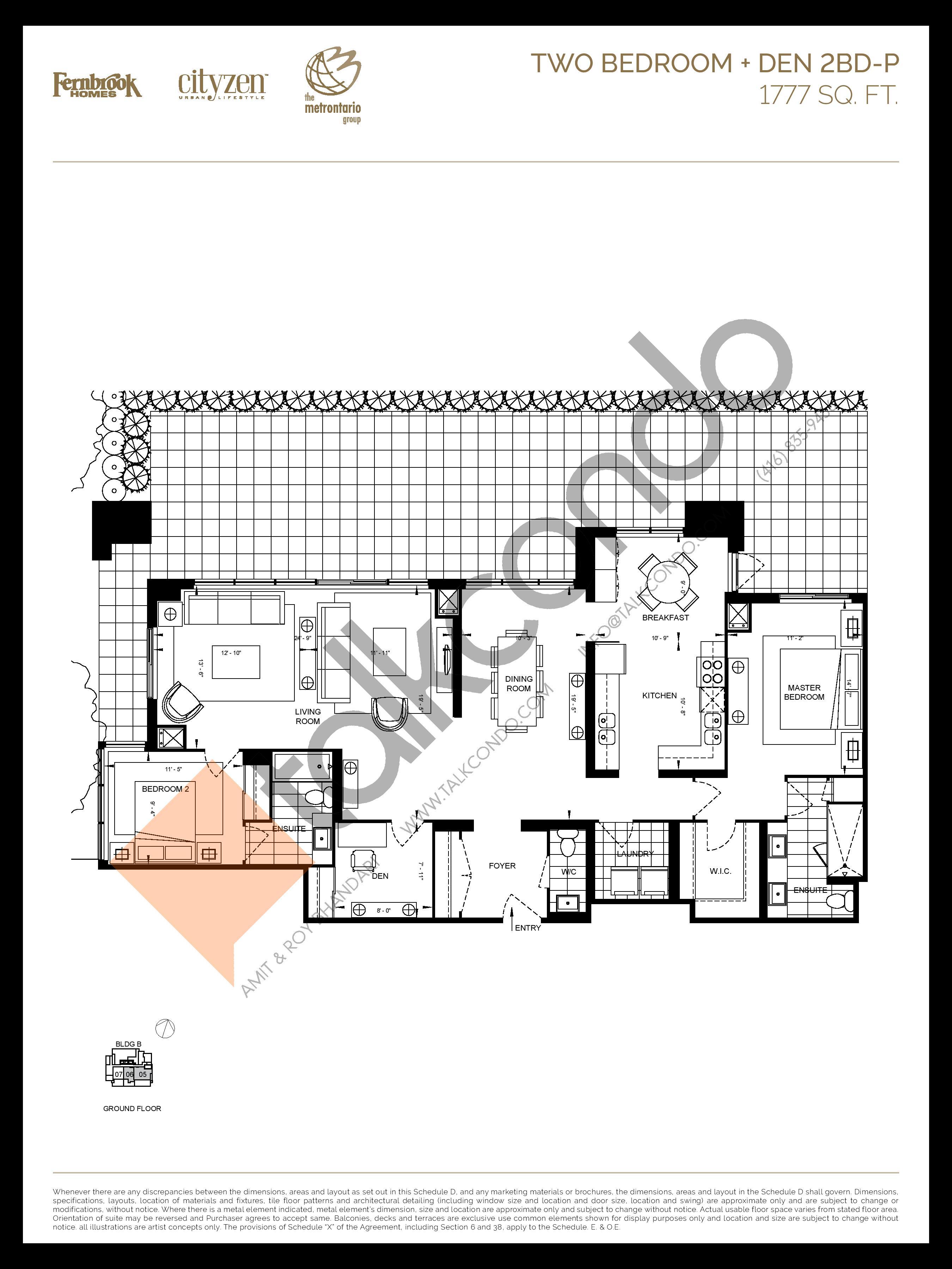 2BD-P Floor Plan at D'or Condos - 1777 sq.ft