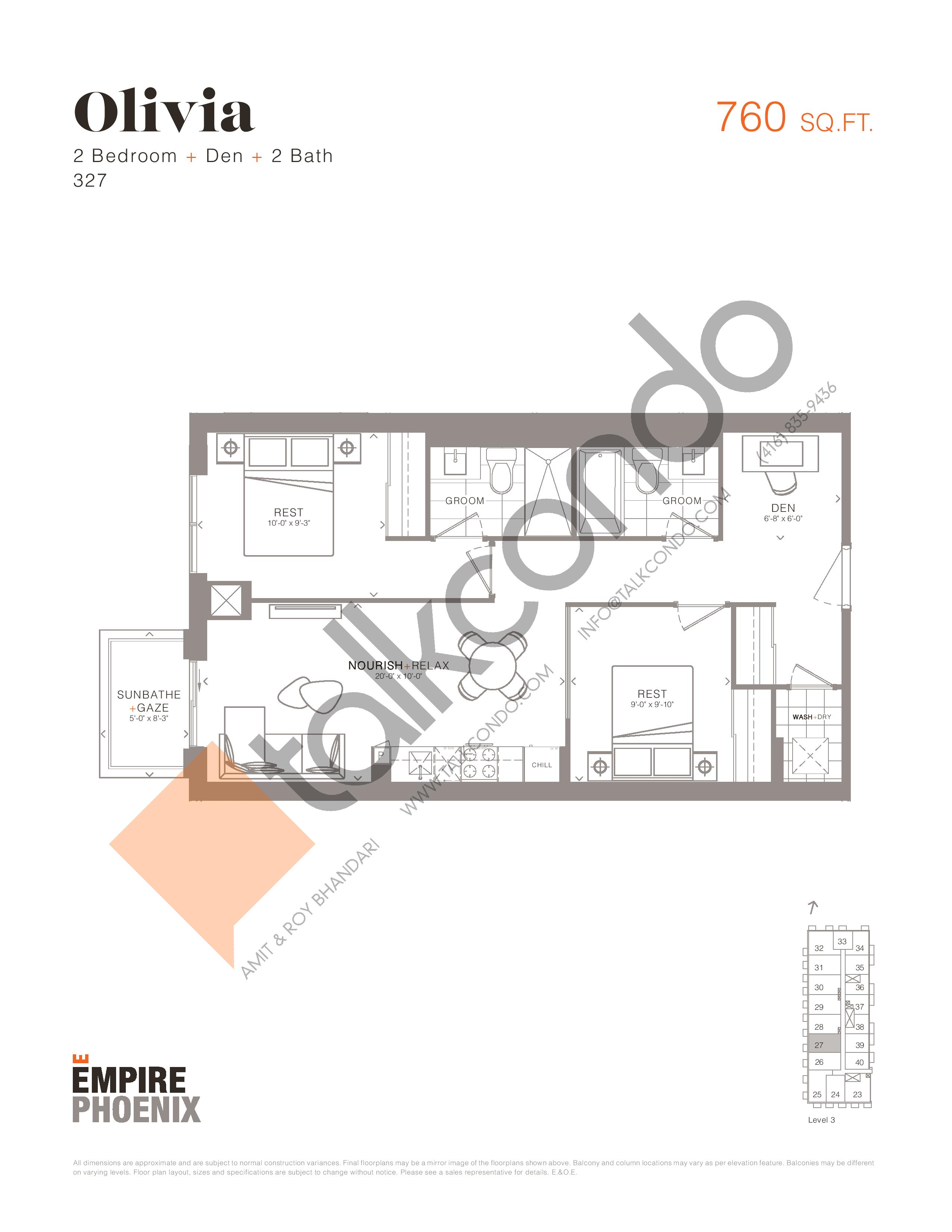 Olivia Floor Plan at Empire Phoenix Phase 2 Condos - 760 sq.ft