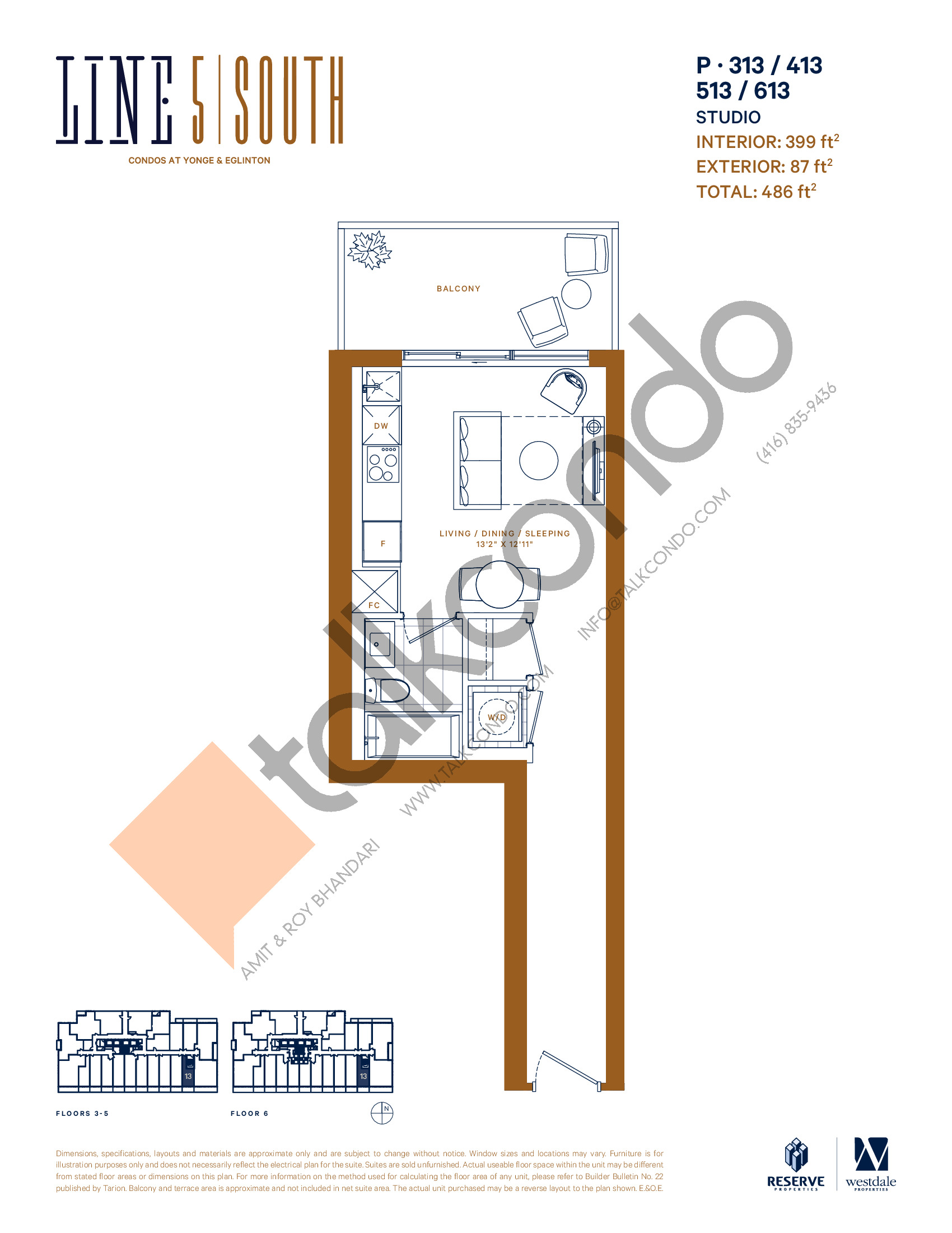P-313 / 413 / 513 / 613 Floor Plan at Line 5 South Tower Condos - 399 sq.ft