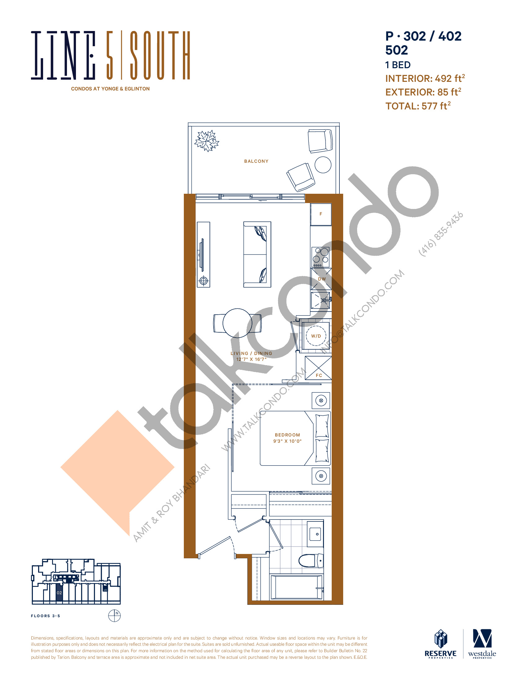 P-302 / 402 / 502 Floor Plan at Line 5 South Tower Condos - 492 sq.ft