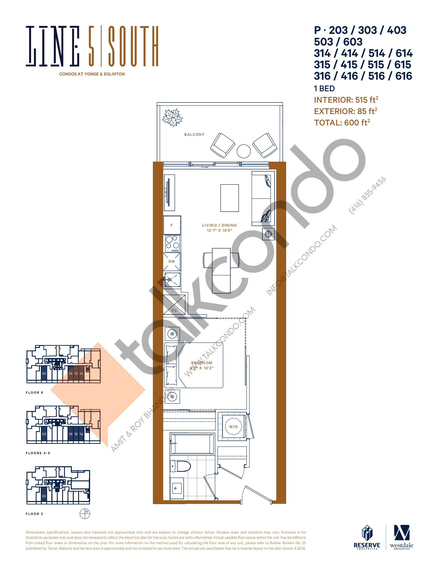 P-203/303/403/503/603/314/414/514/614/315/415/515/615/316/416/516/616 Floor Plan at Line 5 South Tower Condos - 515 sq.ft