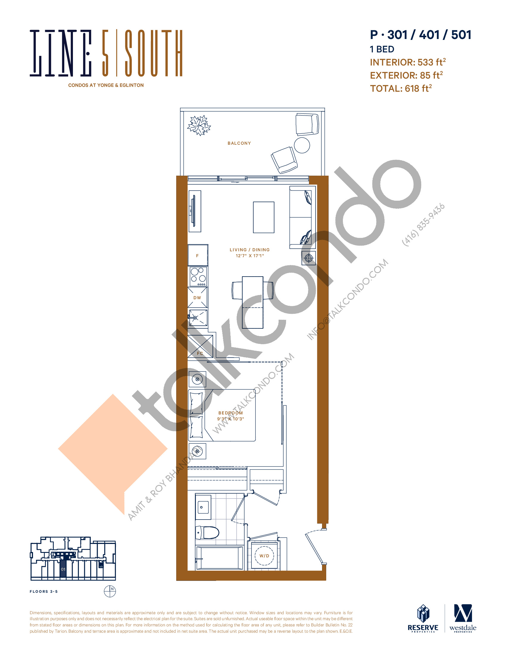 P-301 / 401 / 501 Floor Plan at Line 5 South Tower Condos - 533 sq.ft