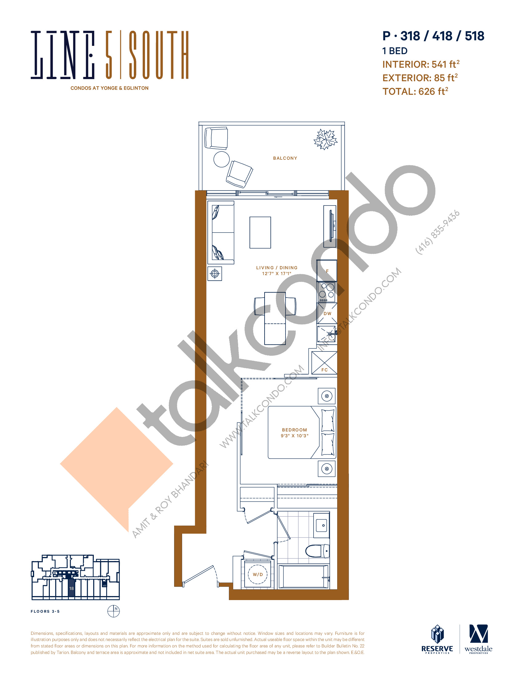 P-318 / 418 / 518 Floor Plan at Line 5 South Tower Condos - 541 sq.ft