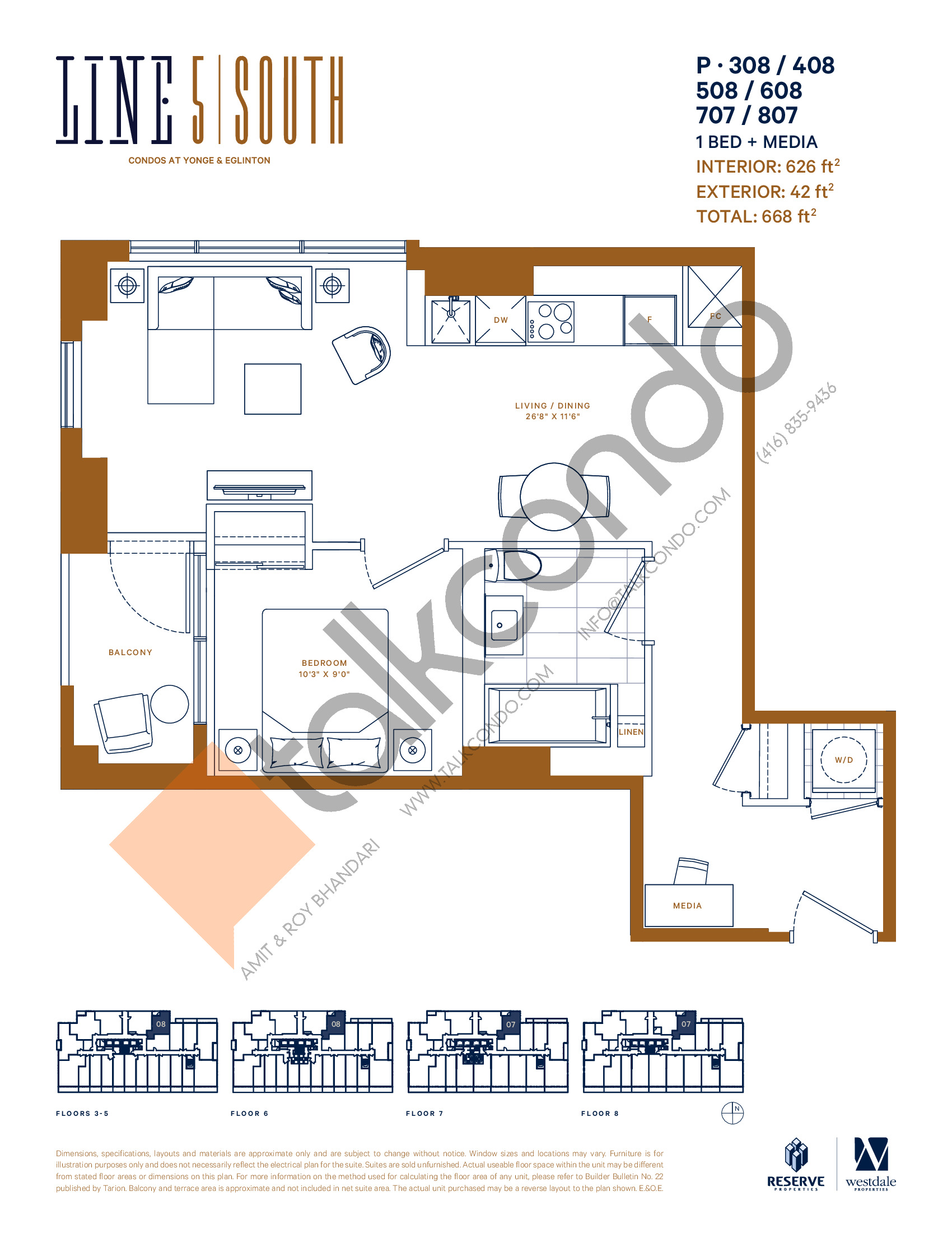 P-308 / 408 / 508 / 608 / 707 / 807 Floor Plan at Line 5 South Tower Condos - 626 sq.ft