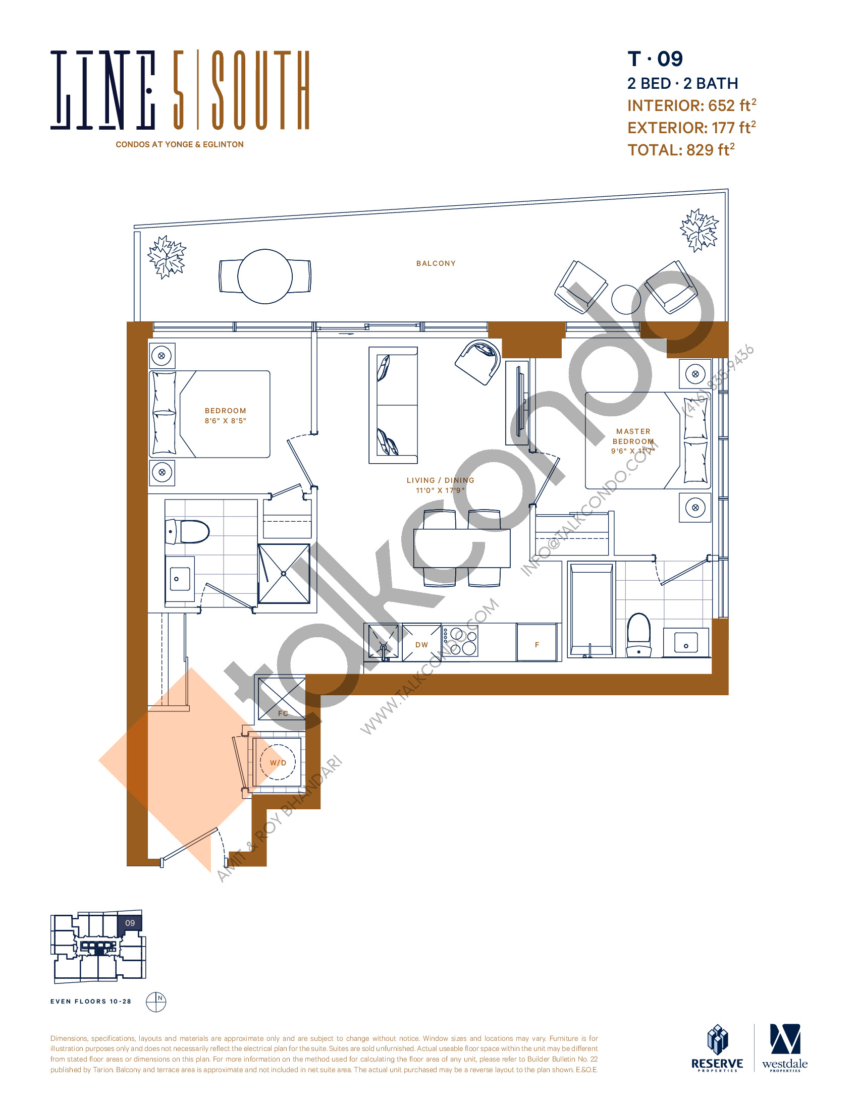 T-09 Floor Plan at Line 5 South Tower Condos - 652 sq.ft