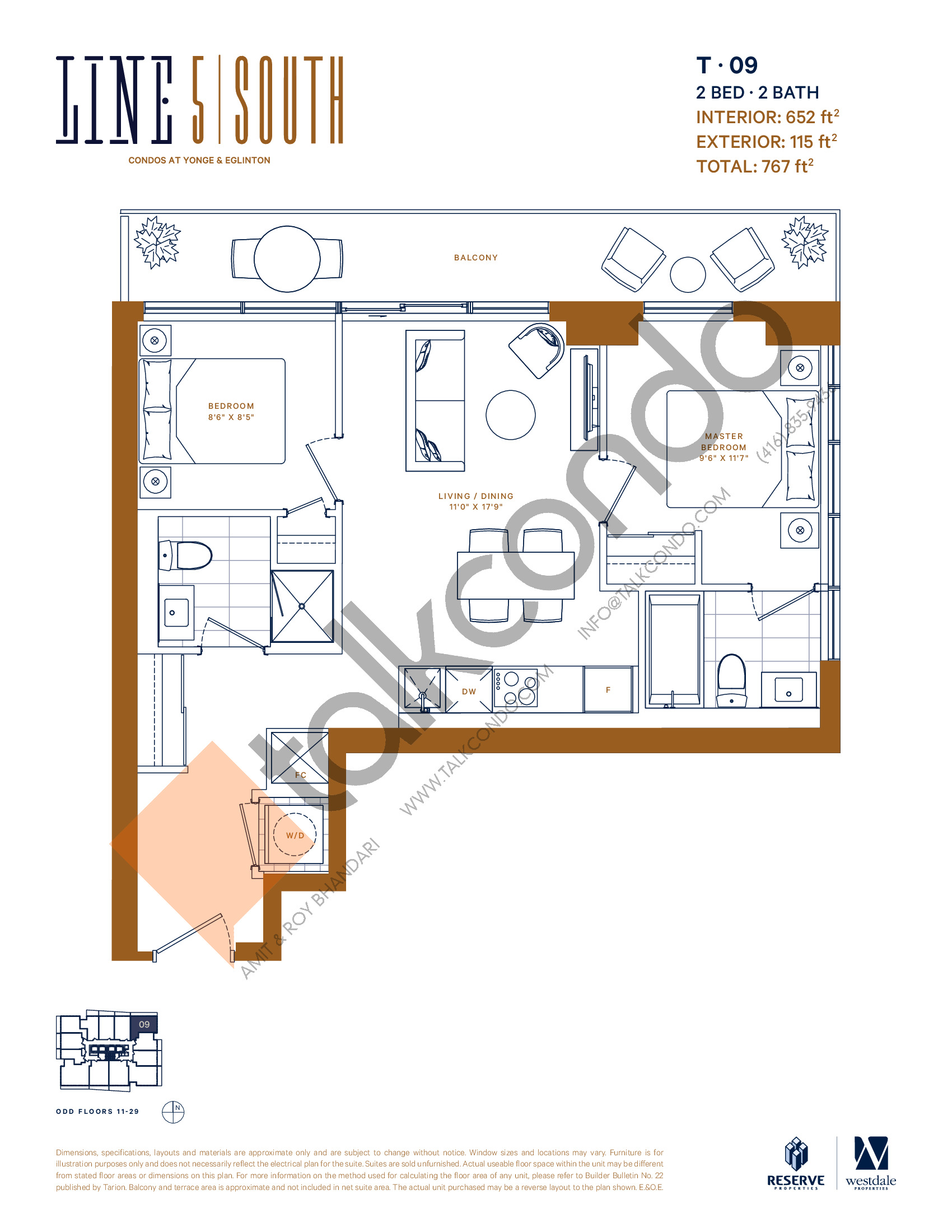 T-09 (New Release) Floor Plan at Line 5 South Tower Condos - 652 sq.ft