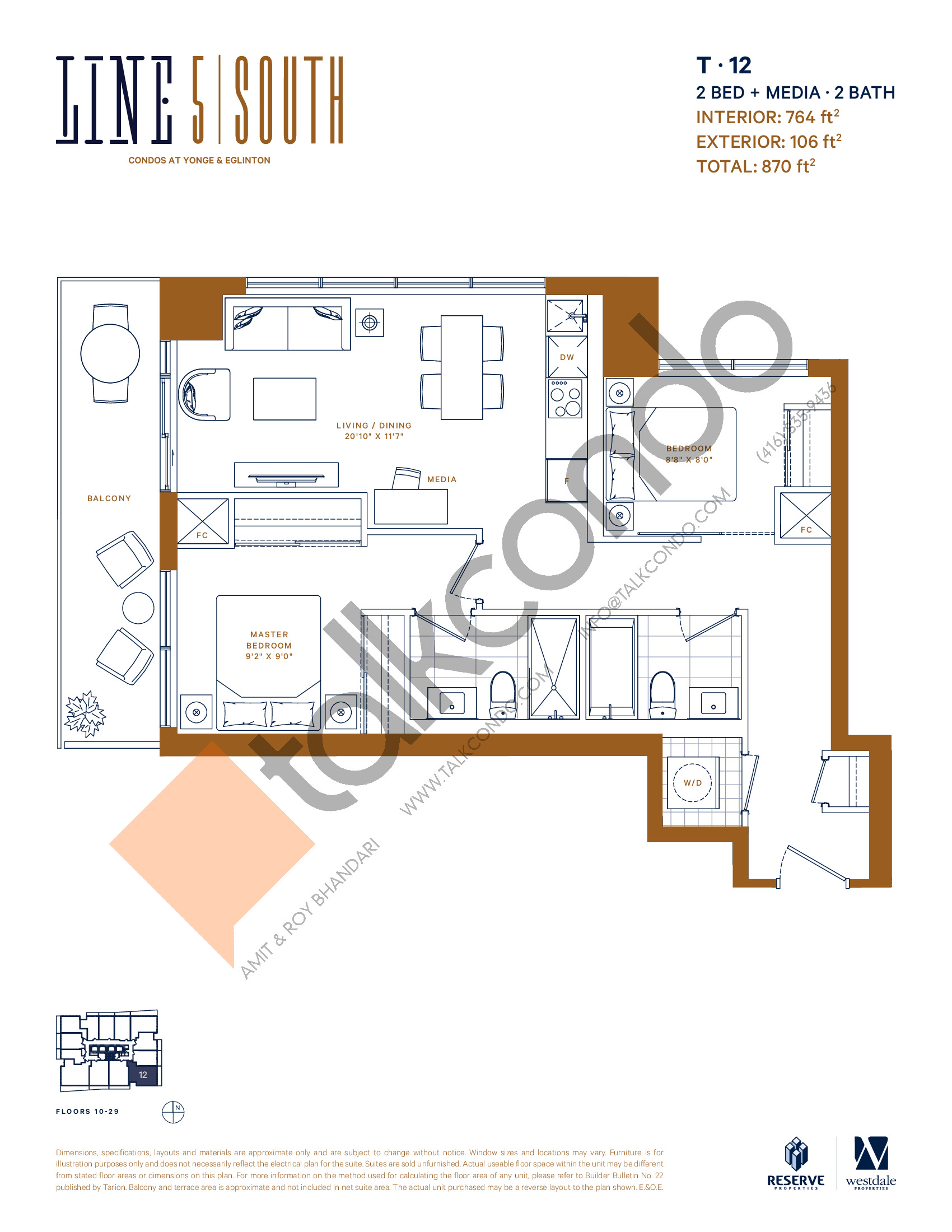 T-12 (New Release) Floor Plan at Line 5 South Tower Condos - 764 sq.ft
