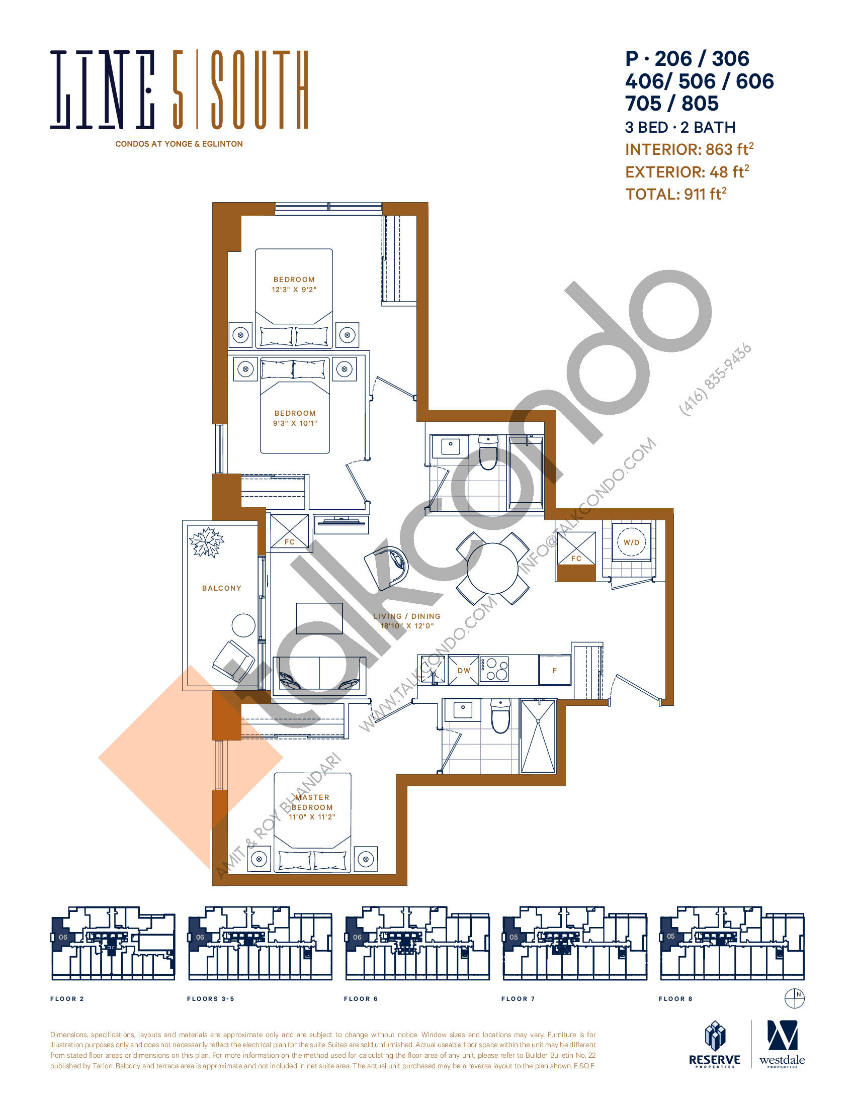 P-206 / 306 / 406 / 506 / 606 / 705 / 805 Floor Plan at Line 5 South Tower Condos - 863 sq.ft