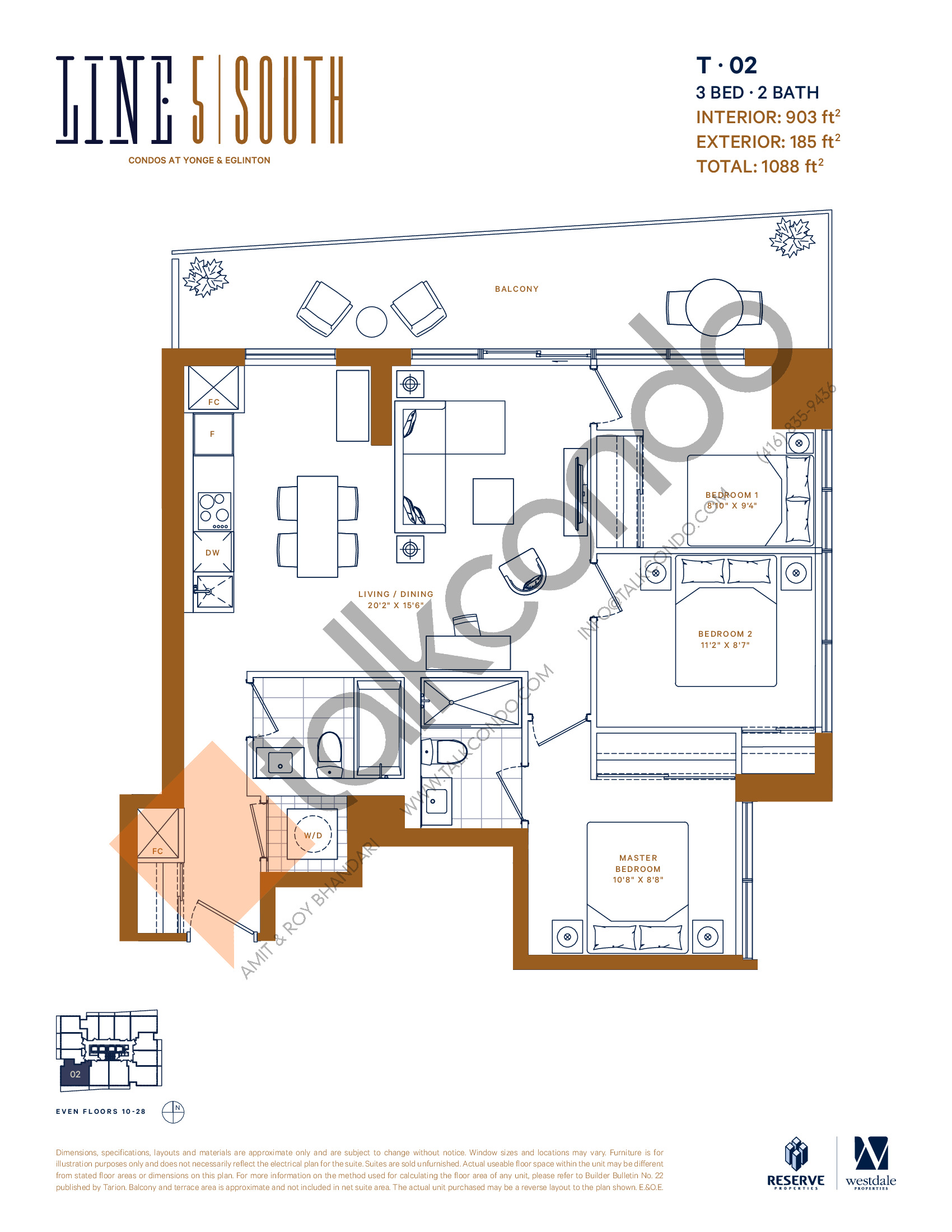 T-02 Floor Plan at Line 5 South Tower Condos - 903 sq.ft