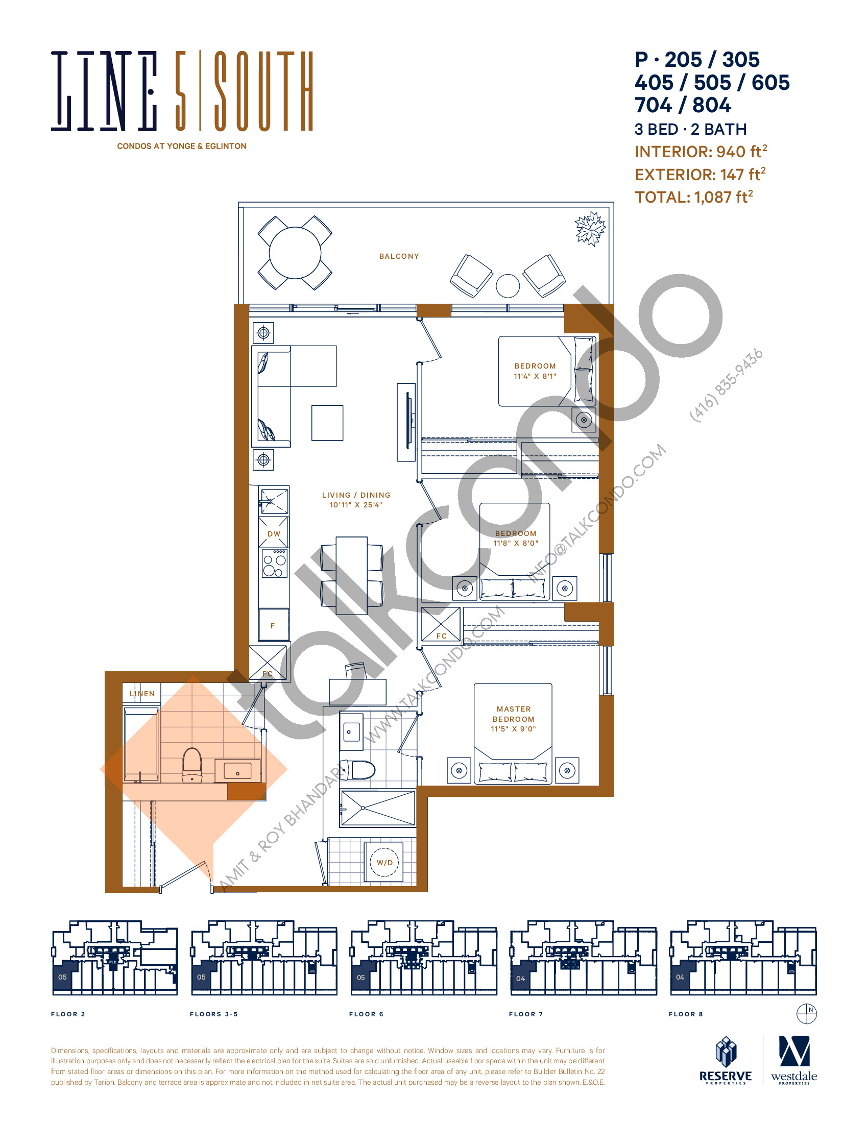 P-205 / 305 / 405 / 505 / 605 / 704 / 804 Floor Plan at Line 5 South Tower Condos - 940 sq.ft