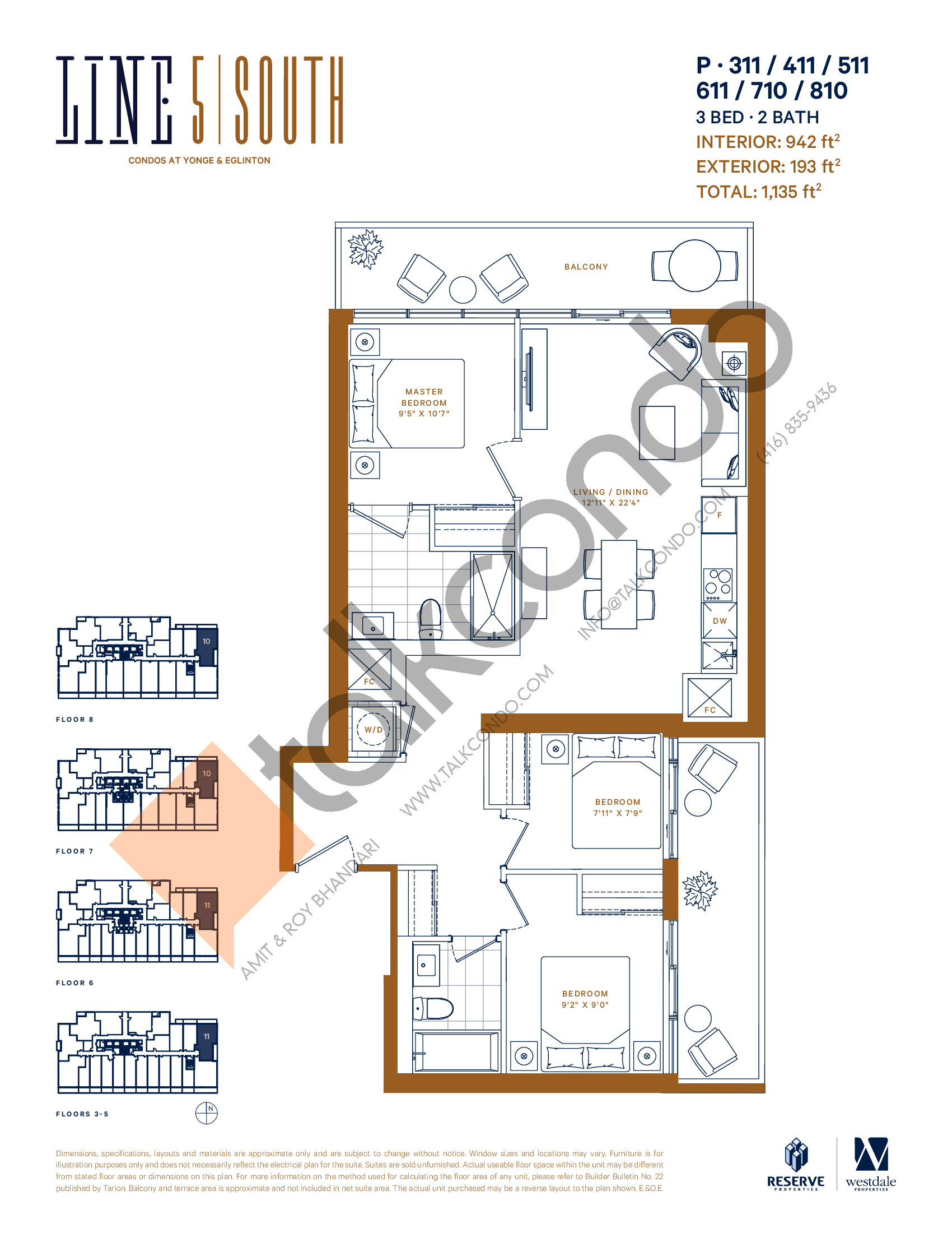 P-311 / 411 / 511 / 611 / 710 / 810 Floor Plan at Line 5 South Tower Condos - 942 sq.ft