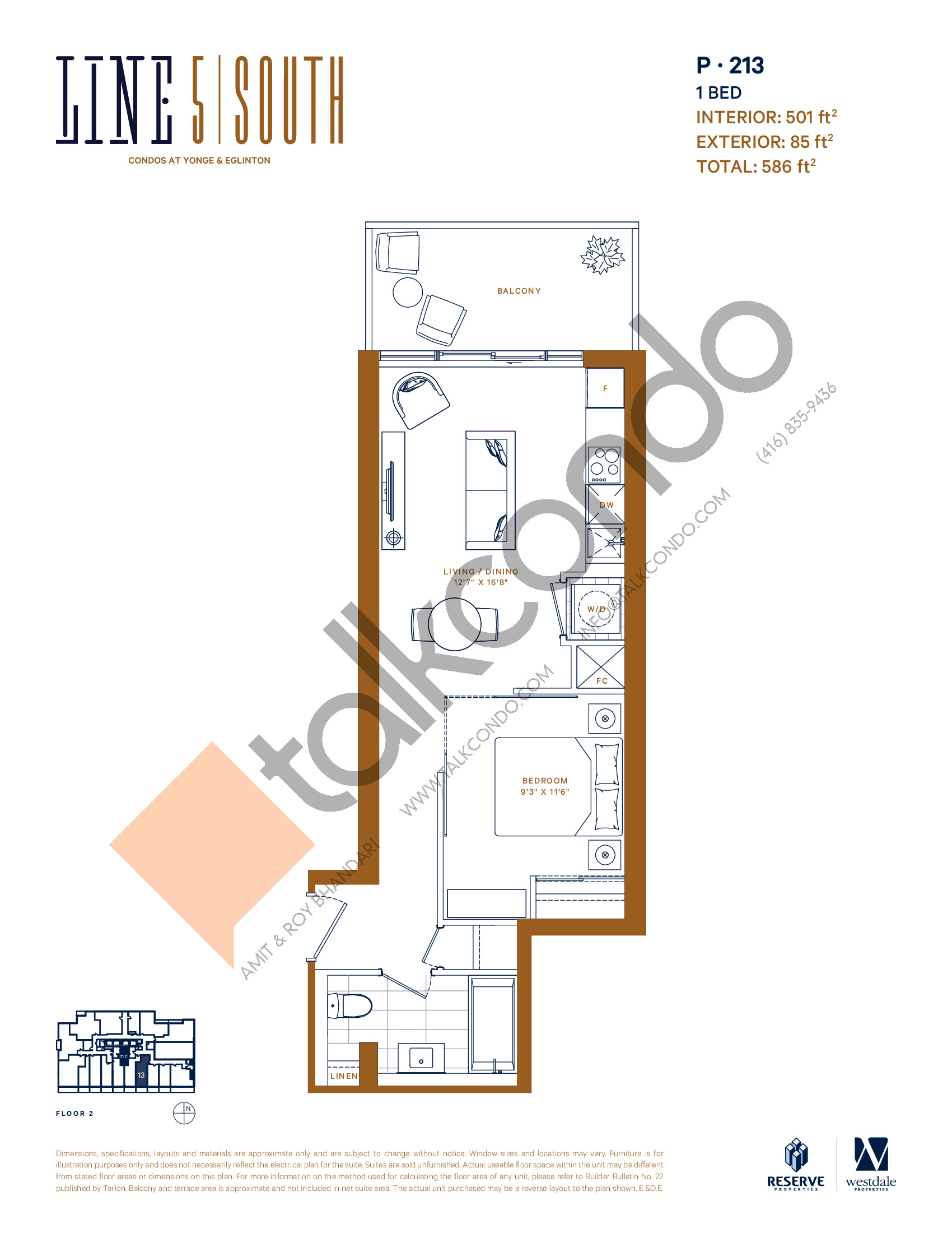 P-213 Floor Plan at Line 5 South Tower Condos - 501 sq.ft