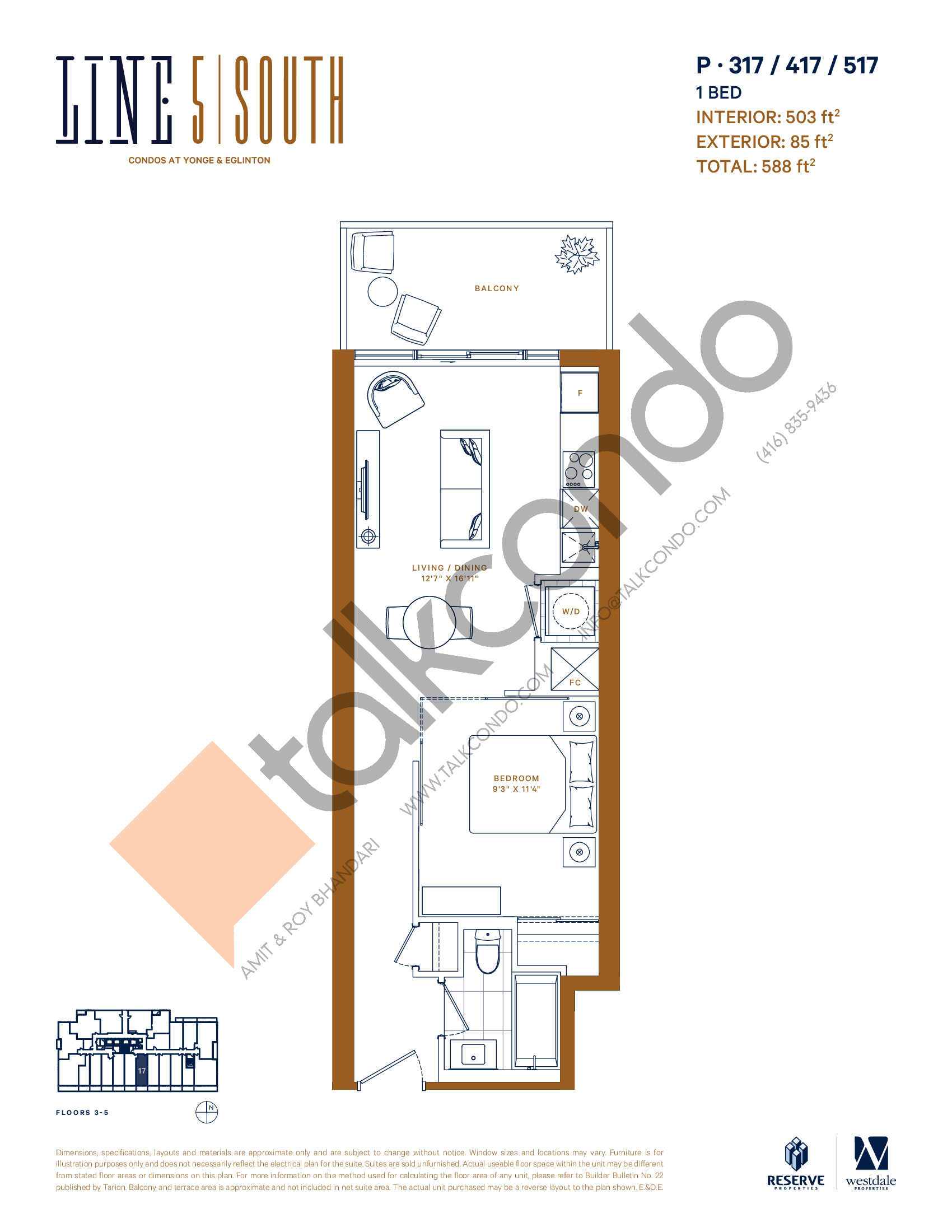 P-317 / 417 / 517 Floor Plan at Line 5 South Tower Condos - 503 sq.ft